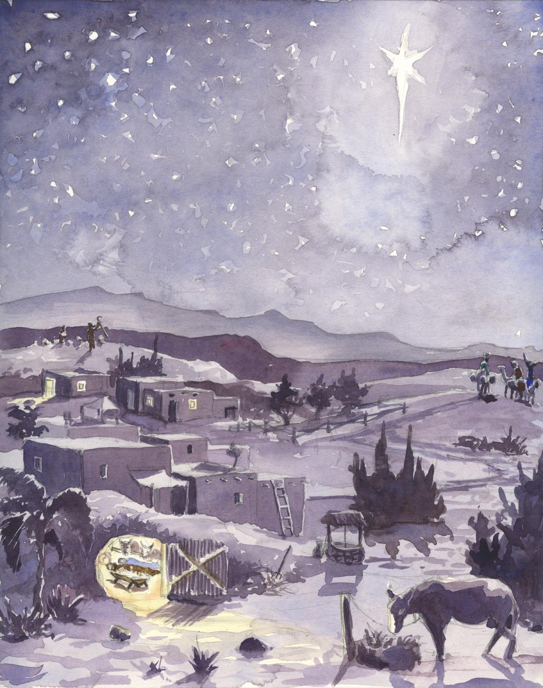 """""""Bethlehem"""". Watercolor. 8x10"""". 2008."""