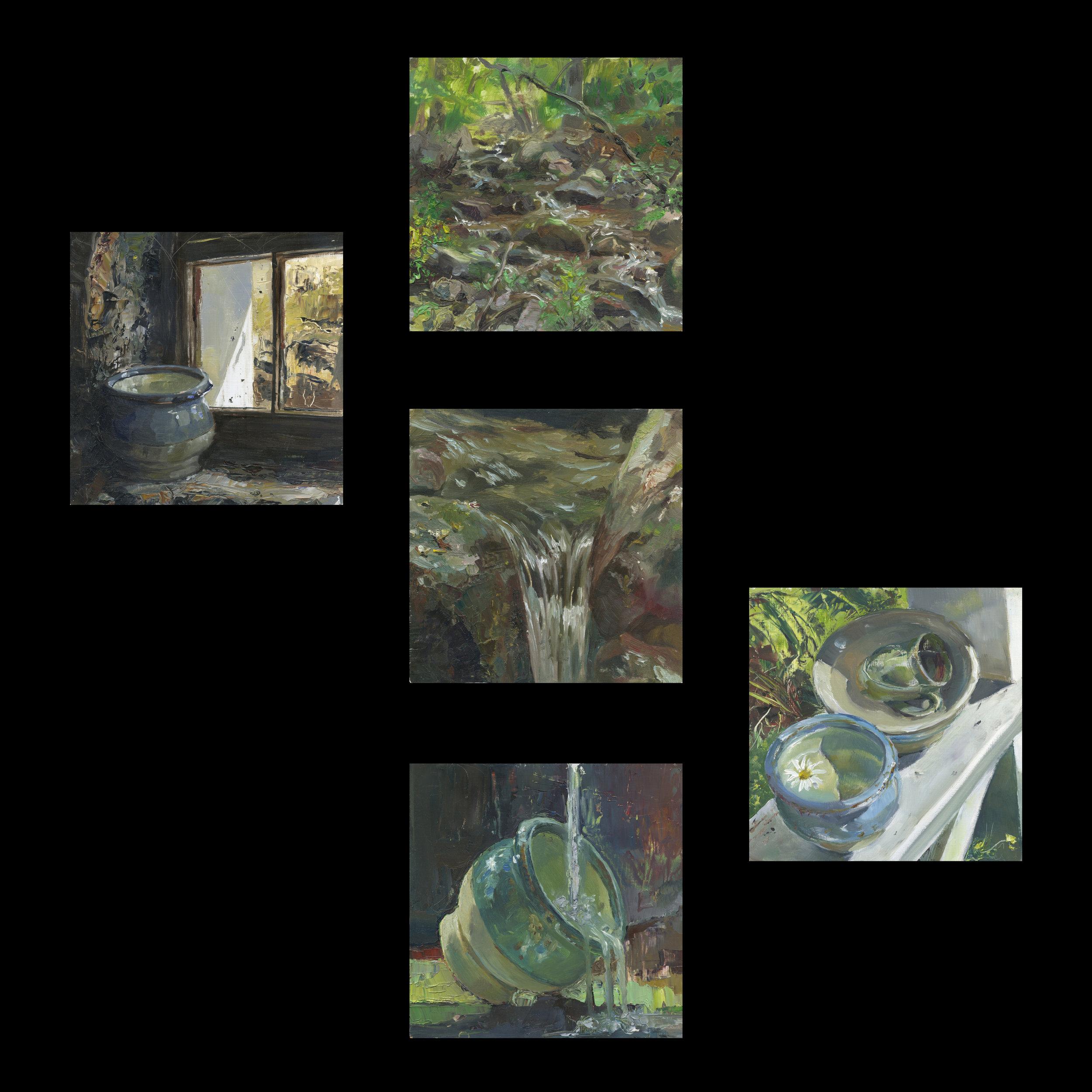 """Overflowing"". Dedrick series of 5 oil on wooden panels. 12x12"" each. 2009."