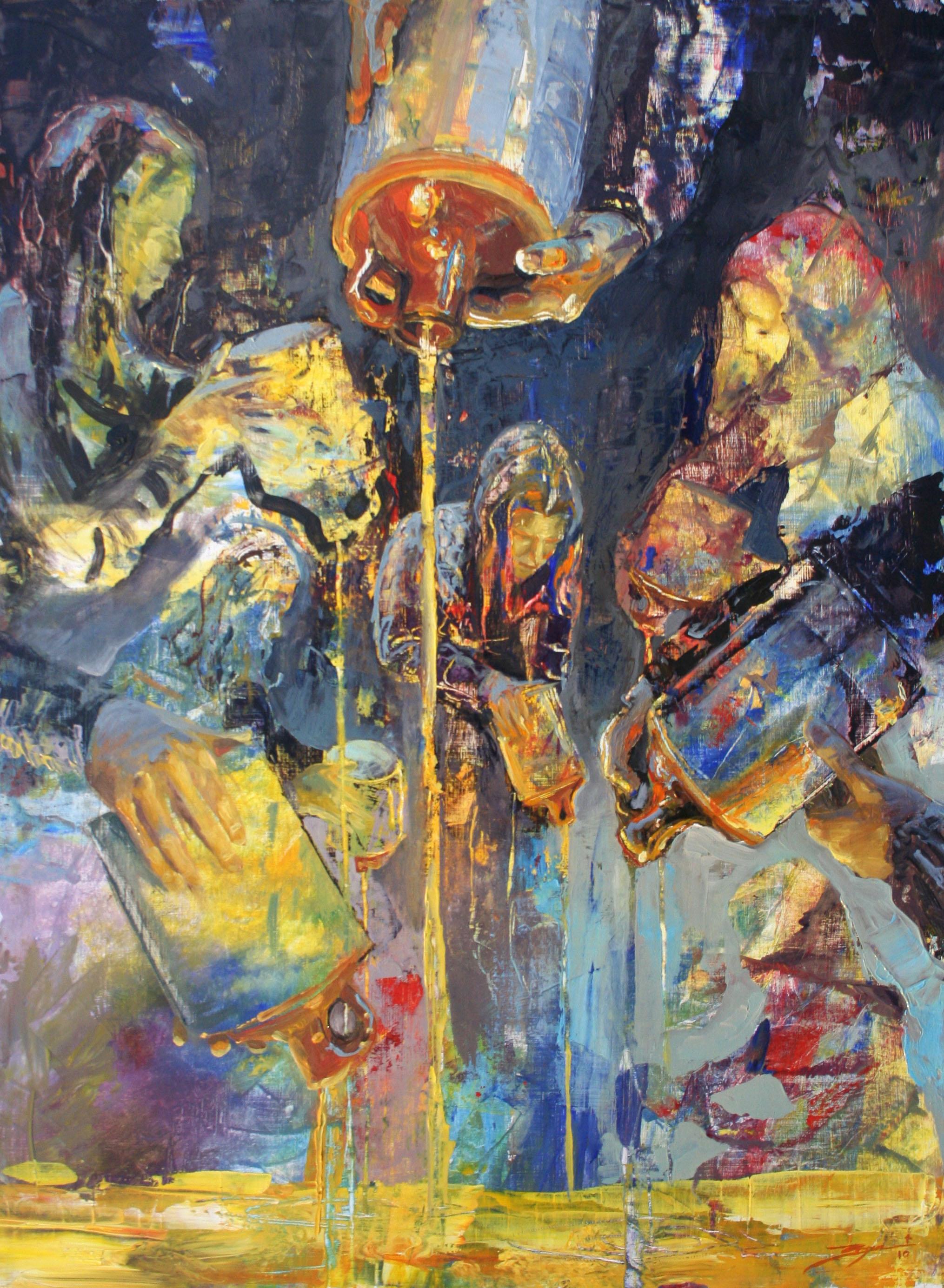 """Widow's Oil"". Oil on panel. 24x36"". 2011."