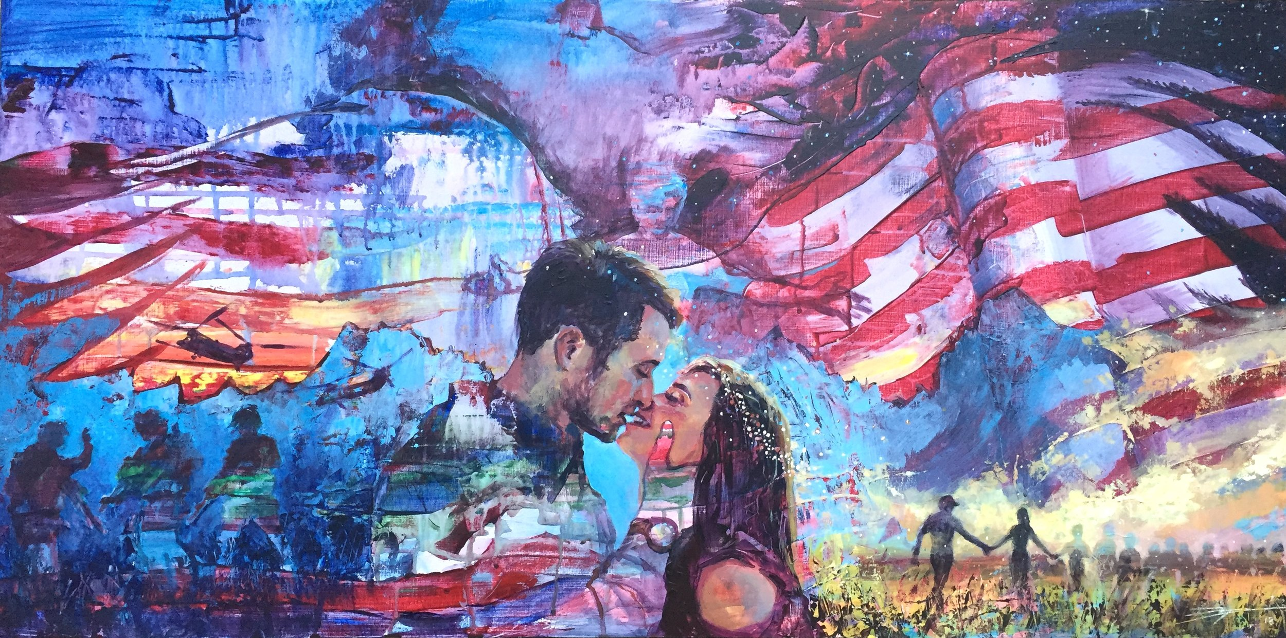 "The first of the wedding paintings was a commissions by Katie Timmerman for her friends Luke and Lindsey who were getting married on 10.29.18. Luke had been a sniper with the Army Rangers and Linsey is a school teacher. The image is built around the couple and an angel just behind them referencing their favorite verse, Psalm 91:11 ""For he will order his angels to protect you wherever you go."" [NLT] 18x36"" Acrylic."