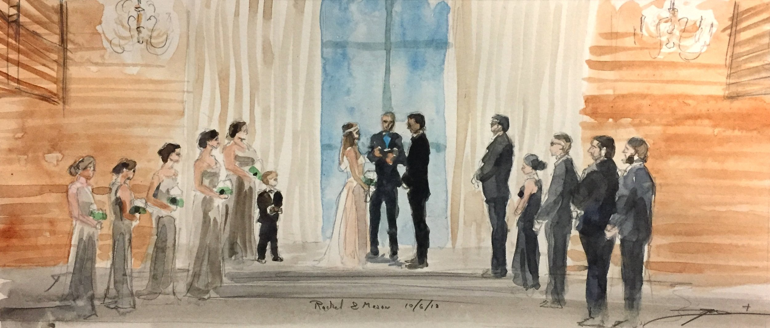 "The final of the wedding images was this past Saturday, 10.06.18, at the wedding of my cousin Rachel Gamble to Mason Lechner. I was able paint this watercolor of the wedding party between the ceremony and the reception while the couple took pictures, since it was all at the same venue. It was such a joy to catch them totally off guard and hand them the painting during the dance party, and have them do a double, triple take… ""wait… that's US… that's right NOW! How did you do that?!"" Painting fast has pros and cons, but it really is special to capture a moment in real time and give a gift that my cousin and her new husband can appreciate for a lifetime."