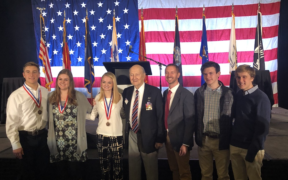 Mr. Quincy Collins, COL USAF (Ret), founder of Carolina Freedom Foundation, poses with this year's student winners of the annual art competition. L-R Sam Goldstein, Emily Ketron, Abbey Barefoot, Colonel Quincy Collins, Mr. Bryn Gillette, Andrew Knotts and Nathan Brannon.