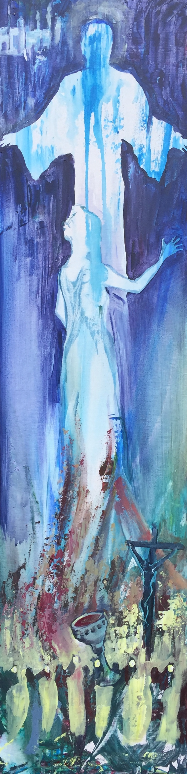"""The Bridegroom Returns"". Acrylic on panel. 12x48"". 4.21.2019. Live at Threshold Church. Approx. 60 min."