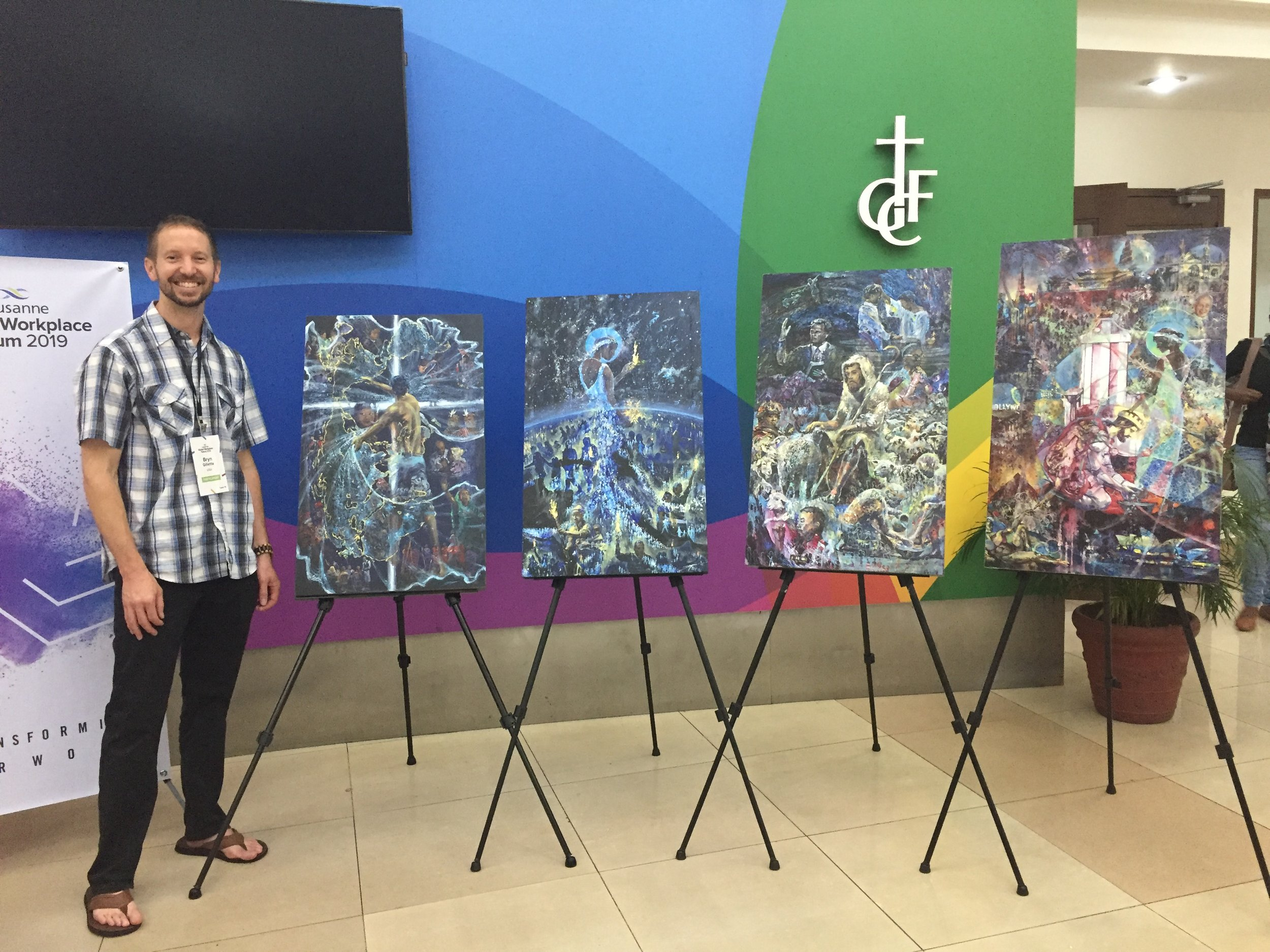 "All four sibling paintings meet for the first time June 25, 2019 in Manila, Philipinnes during the unveiling of Pillar 4 at the Lausanne Movement's ""Global Workplace Forum""."