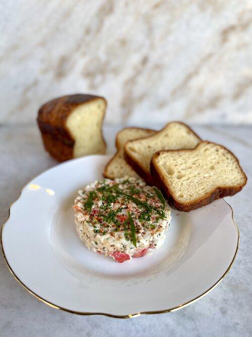 Deviled Crab Salad with Shokupan Toast. Serves 2-4