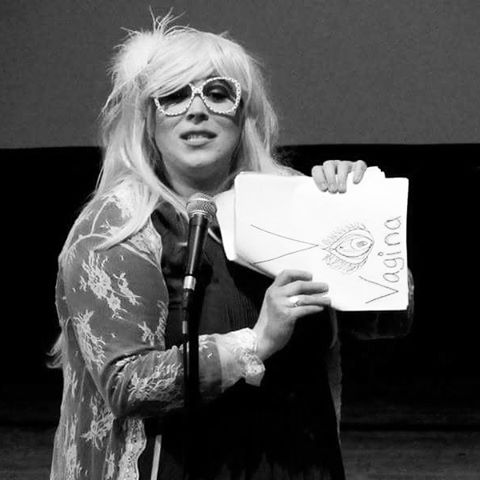 """Me teaching everyone at @thebechdeltestfest about the letter V in """"Brooke Spitz's Sex Alphabet"""". Thanks for having me! #bechdeltestfest"""