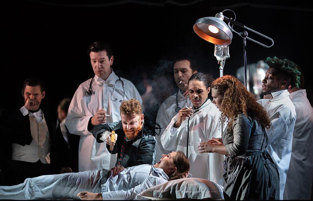 Alix Le Saux as  Cendrillon , Eleonore Pancrazi as  Prince Charmant   with Robin Gladwin, Connor Williams and Ryan Munroe  CENDRILLON  at Glyndebourne (Tour), October 2018 Photo: Bill Knight