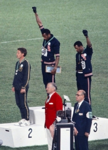 John Carlos and Tommy Smith at the 1968 Olympics