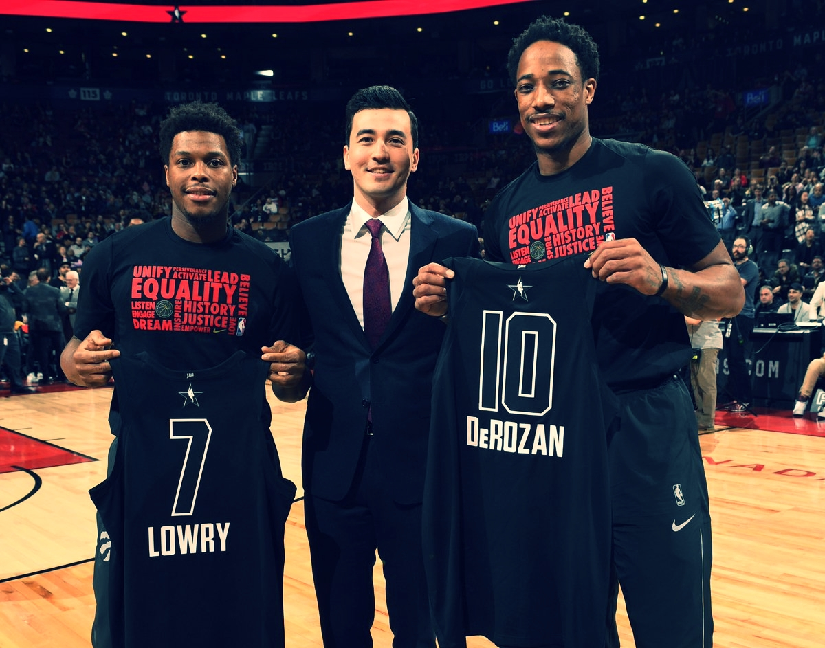 KYLE LOWRY AND DEMAR DEROZAN WERE NAMED ALL-STARS FOR THE FOURTH YEAR IN A ROW, WITH DEMAR BEING VOTED IN AS A STARTER.