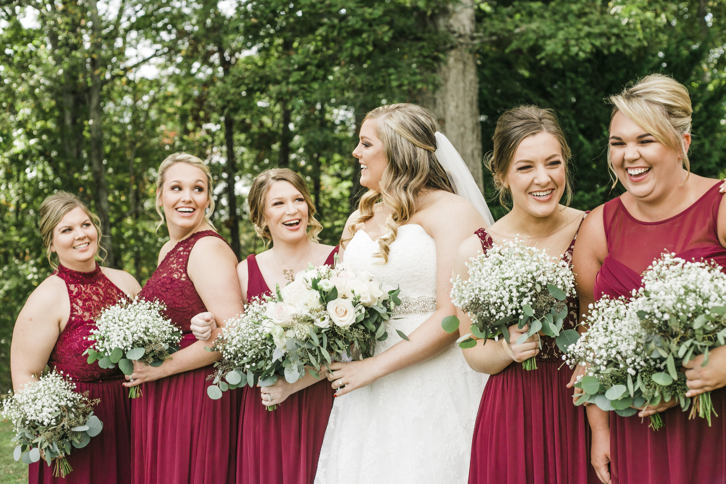Estate of Grace Farm Knoxville Candid bridesmaids wine dress