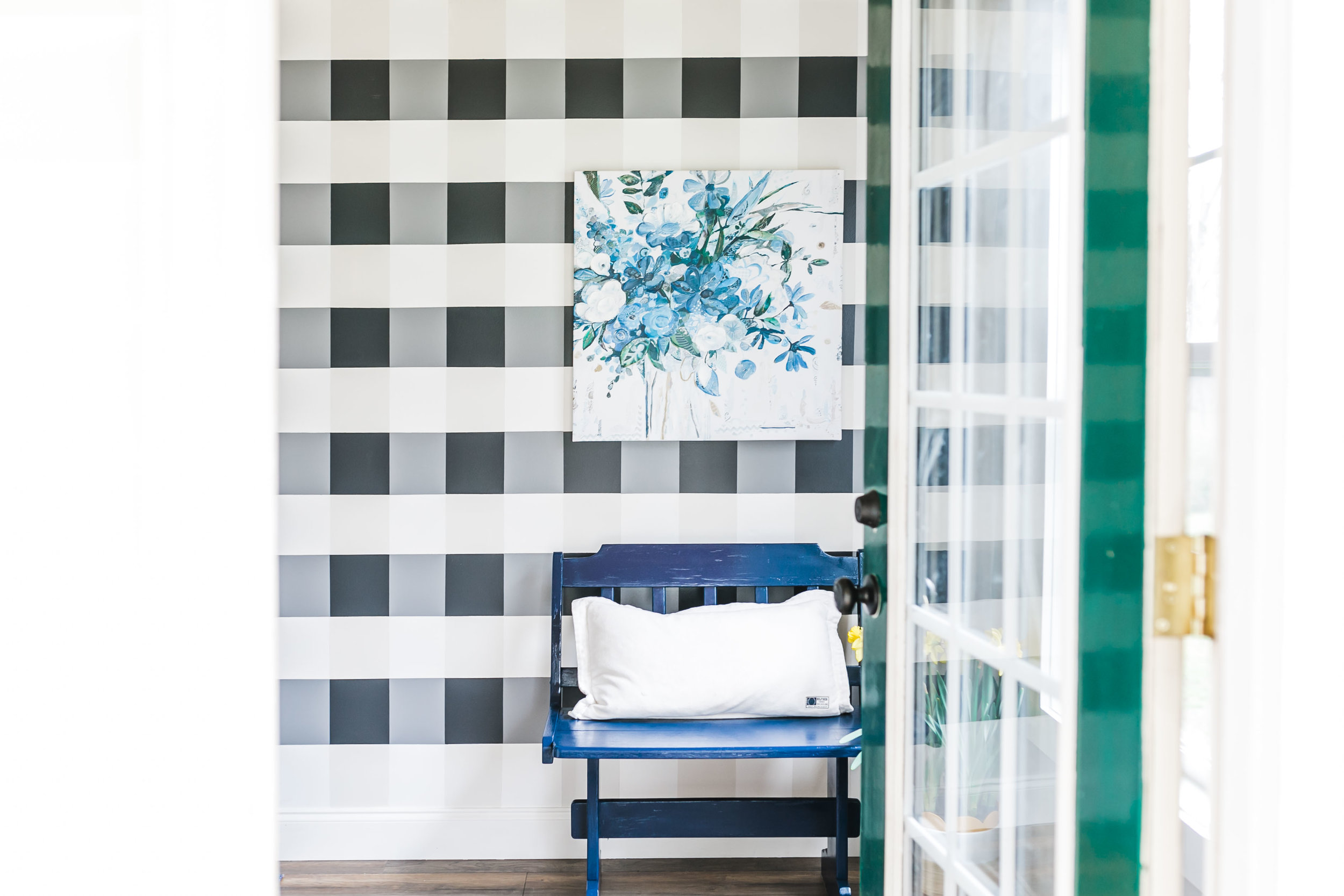 gingham wall navy mudroom
