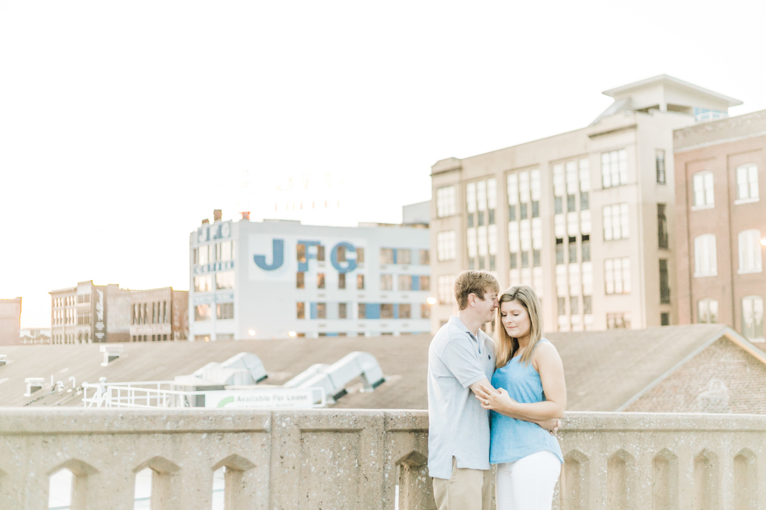 Downtown Knoxville Skyline Engagement Photo