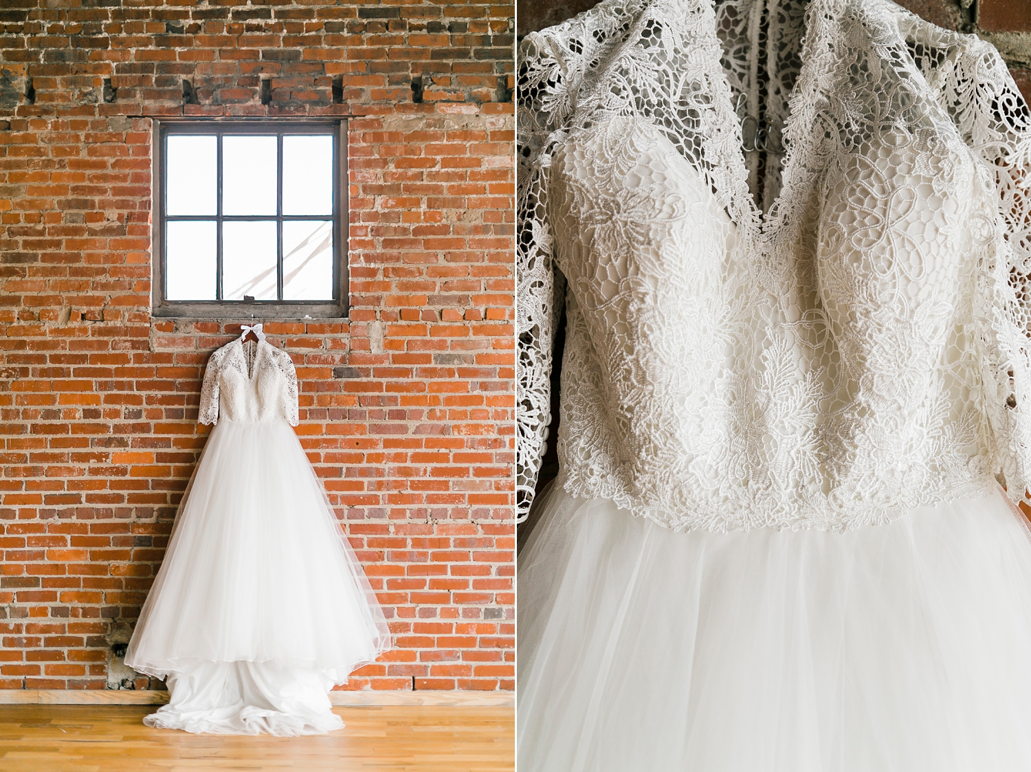 Classic ballgown dress with royal wedding vibes hung under window at the standard knoxville with exposed brick