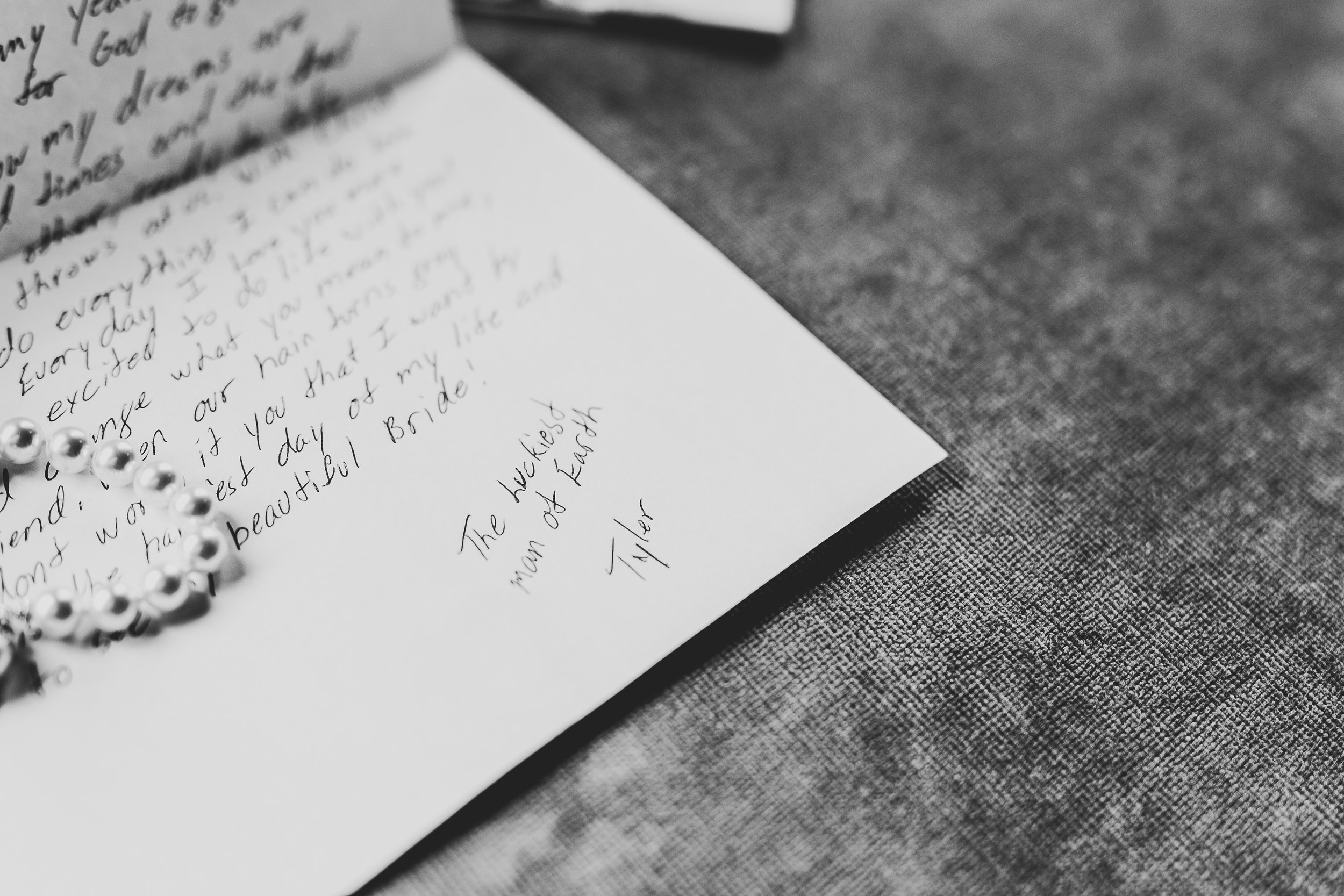 black and white love note and vows