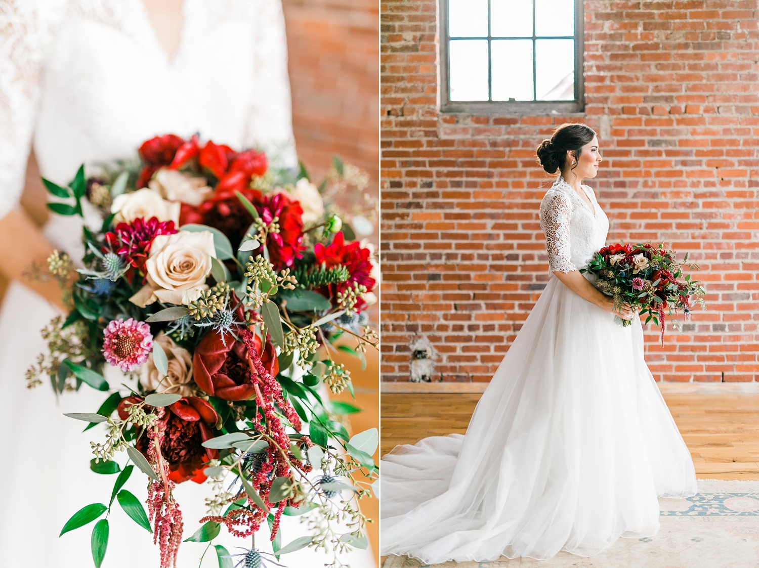 bridal portraits with ballgown and flowers by Melissa timm