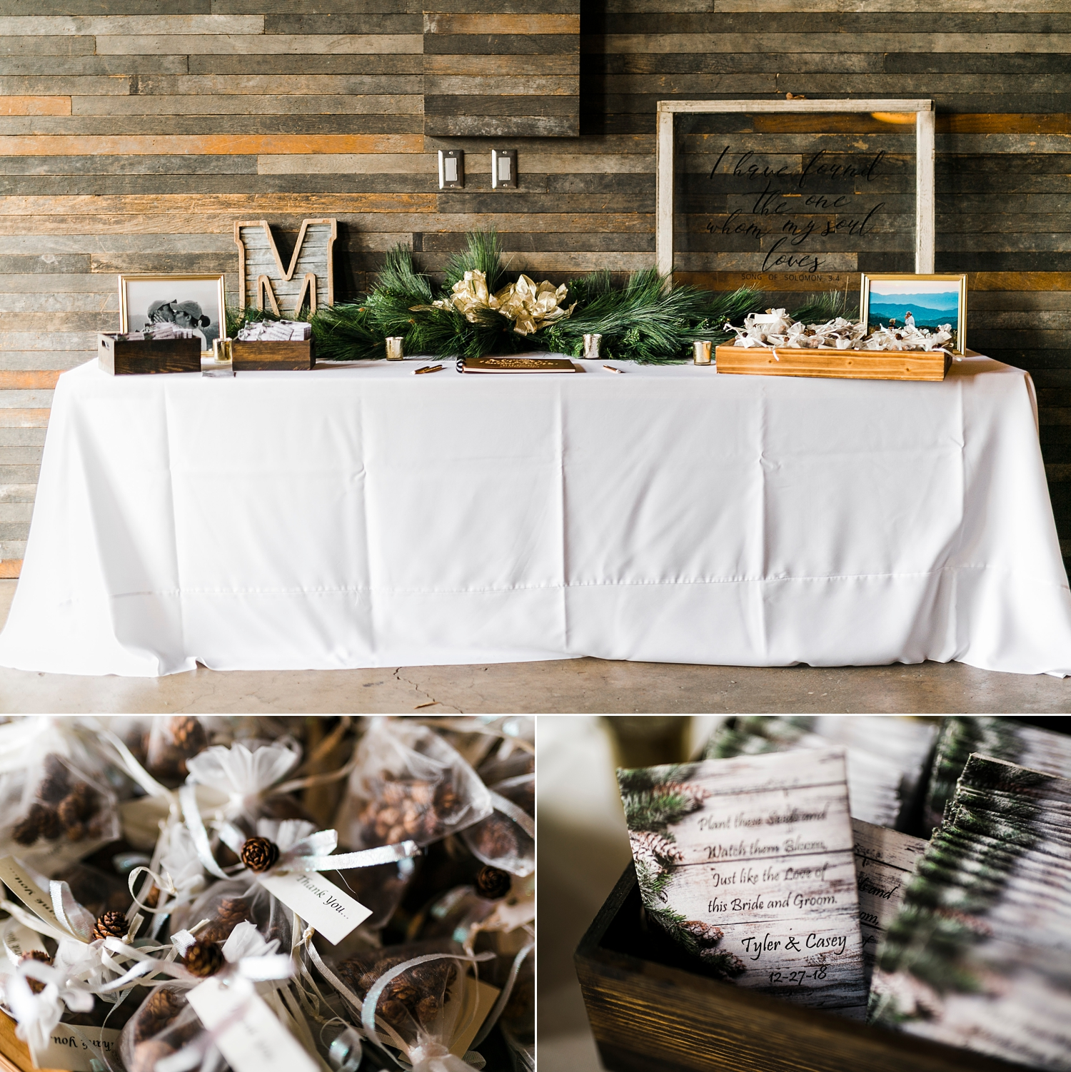 guest wedding favor table with seed packets for winter wedding