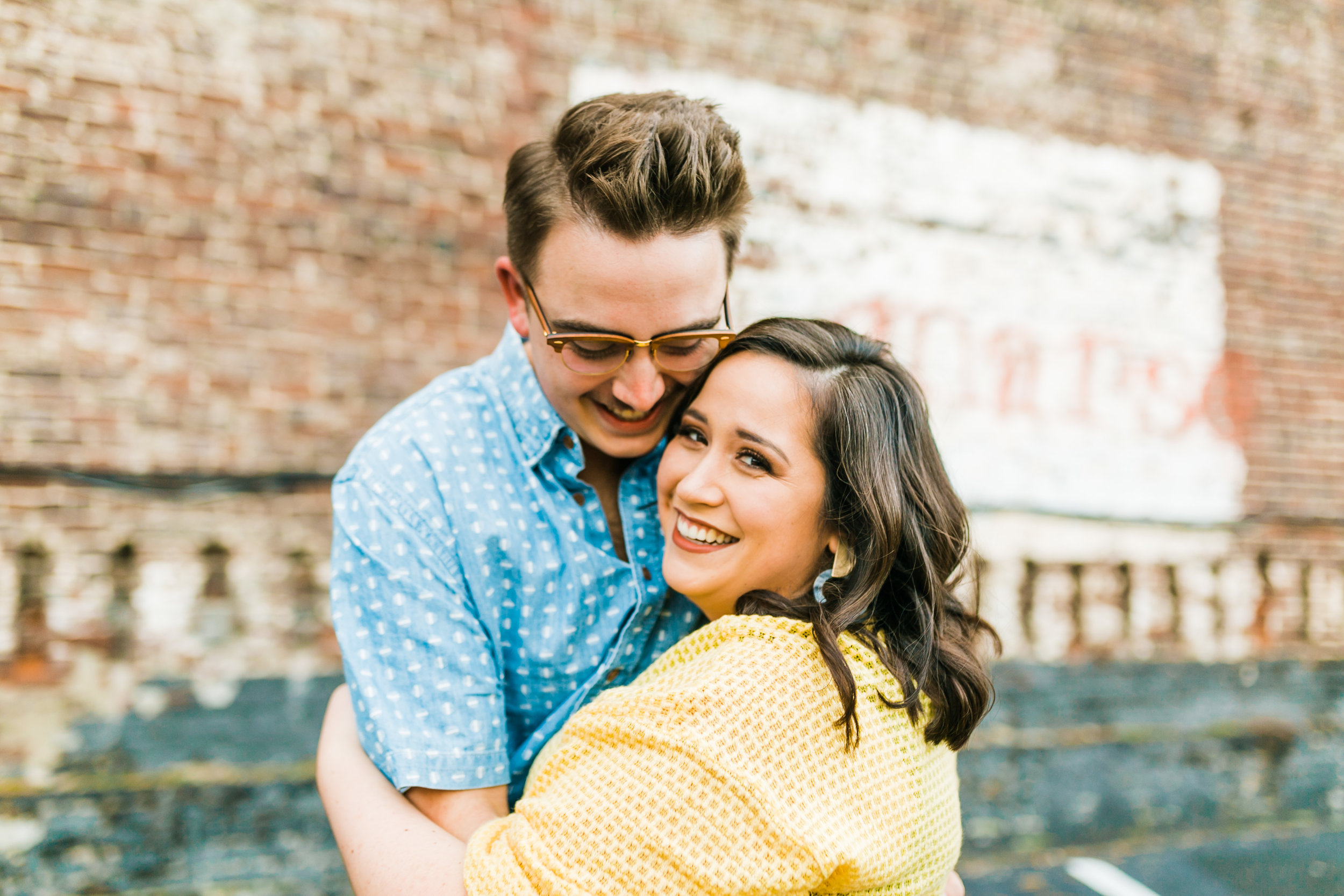 yellow and blue engagement session outfits downtown knoxville