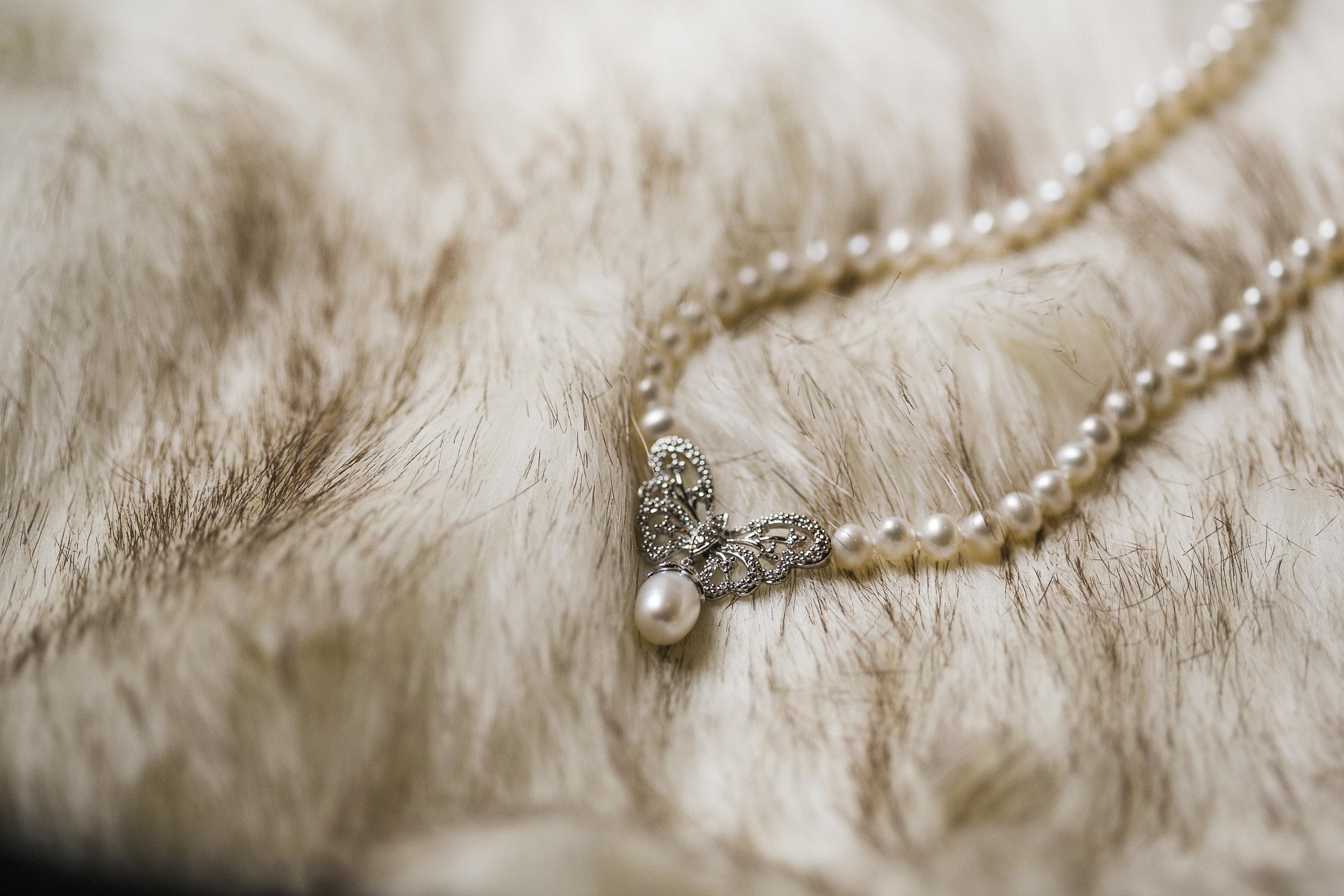 heirloom necklace on fur