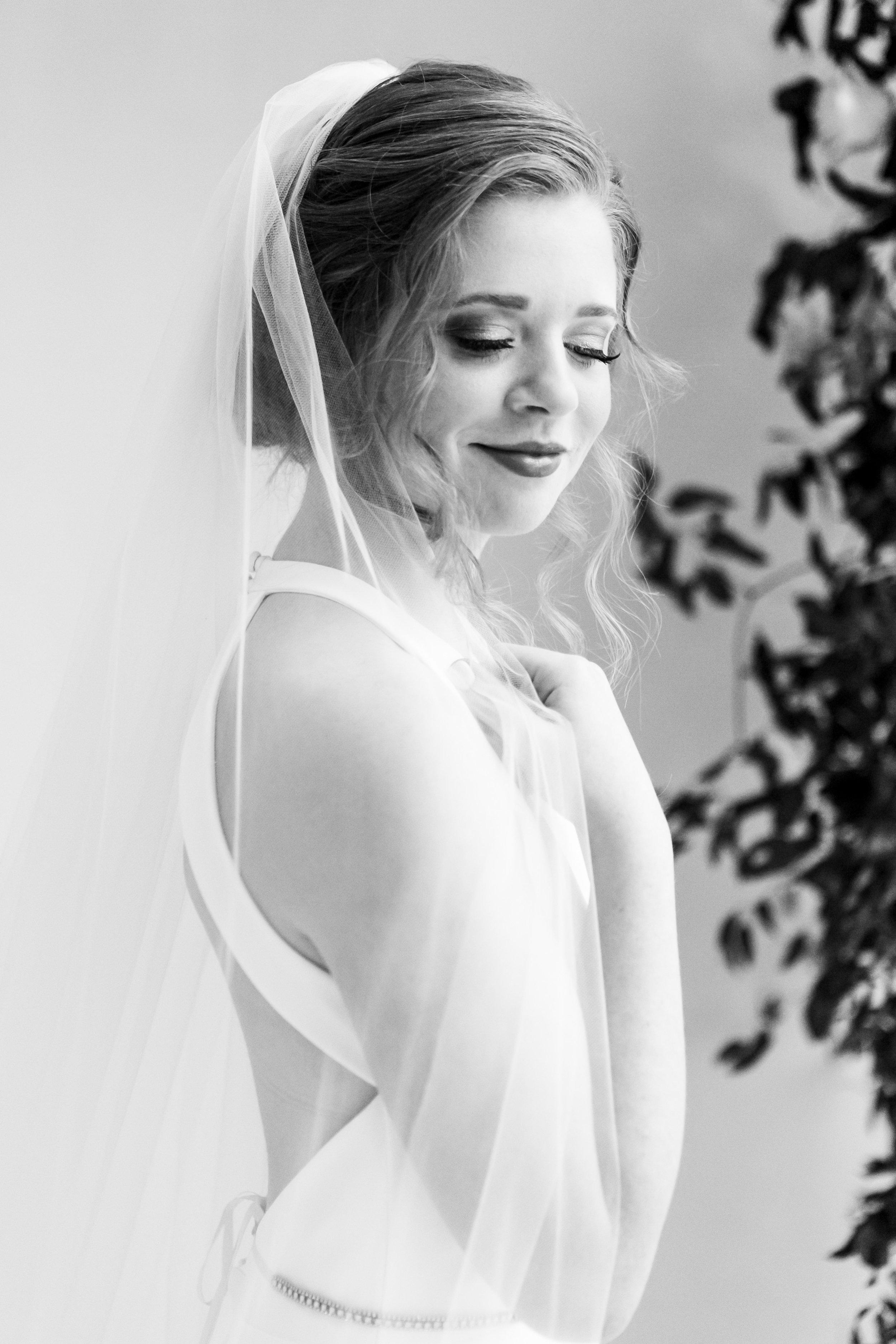 black and white classic bridal portrait