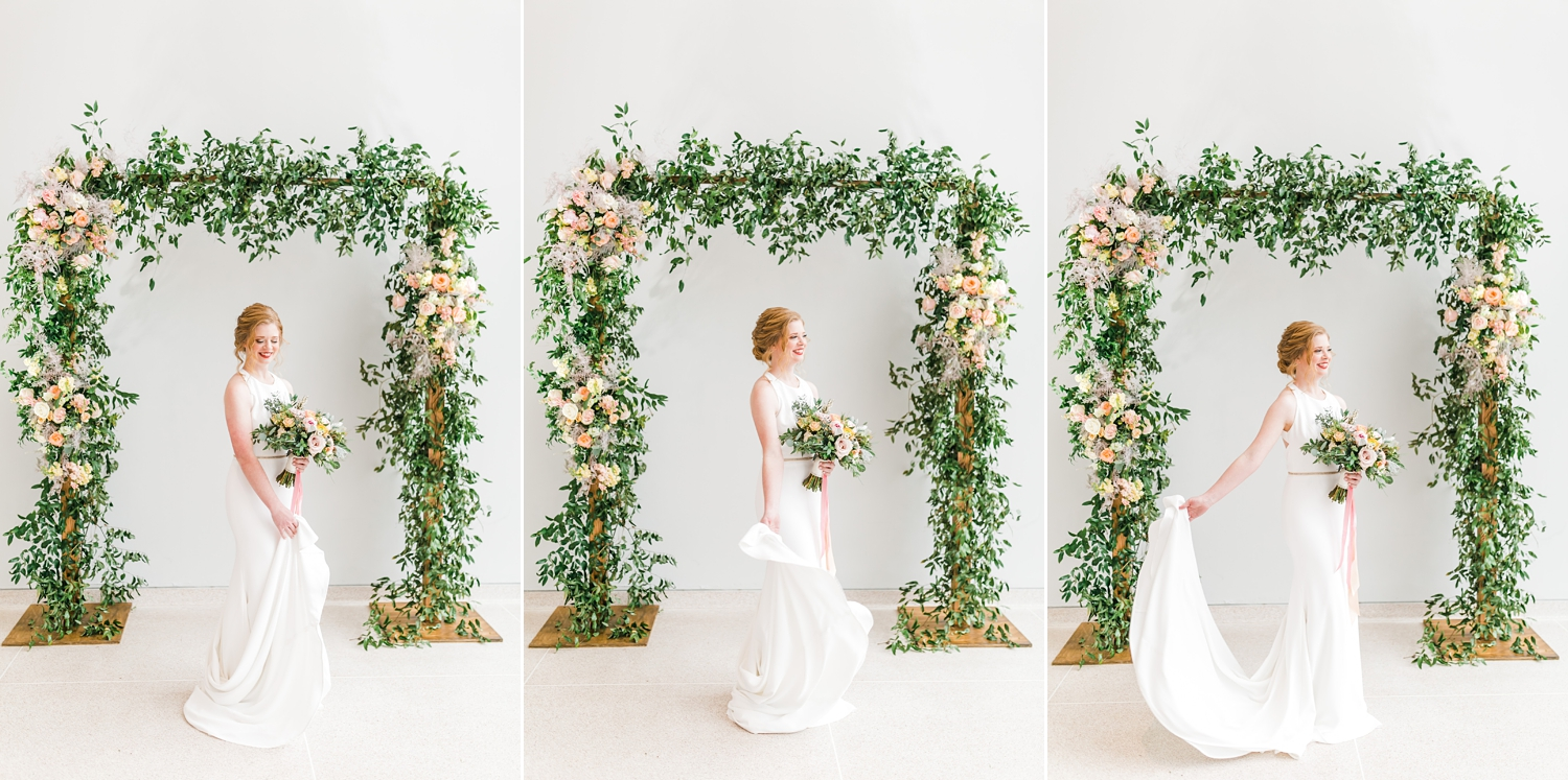 floral arch with spring colors pastels by lb floral in knoxville museum of art