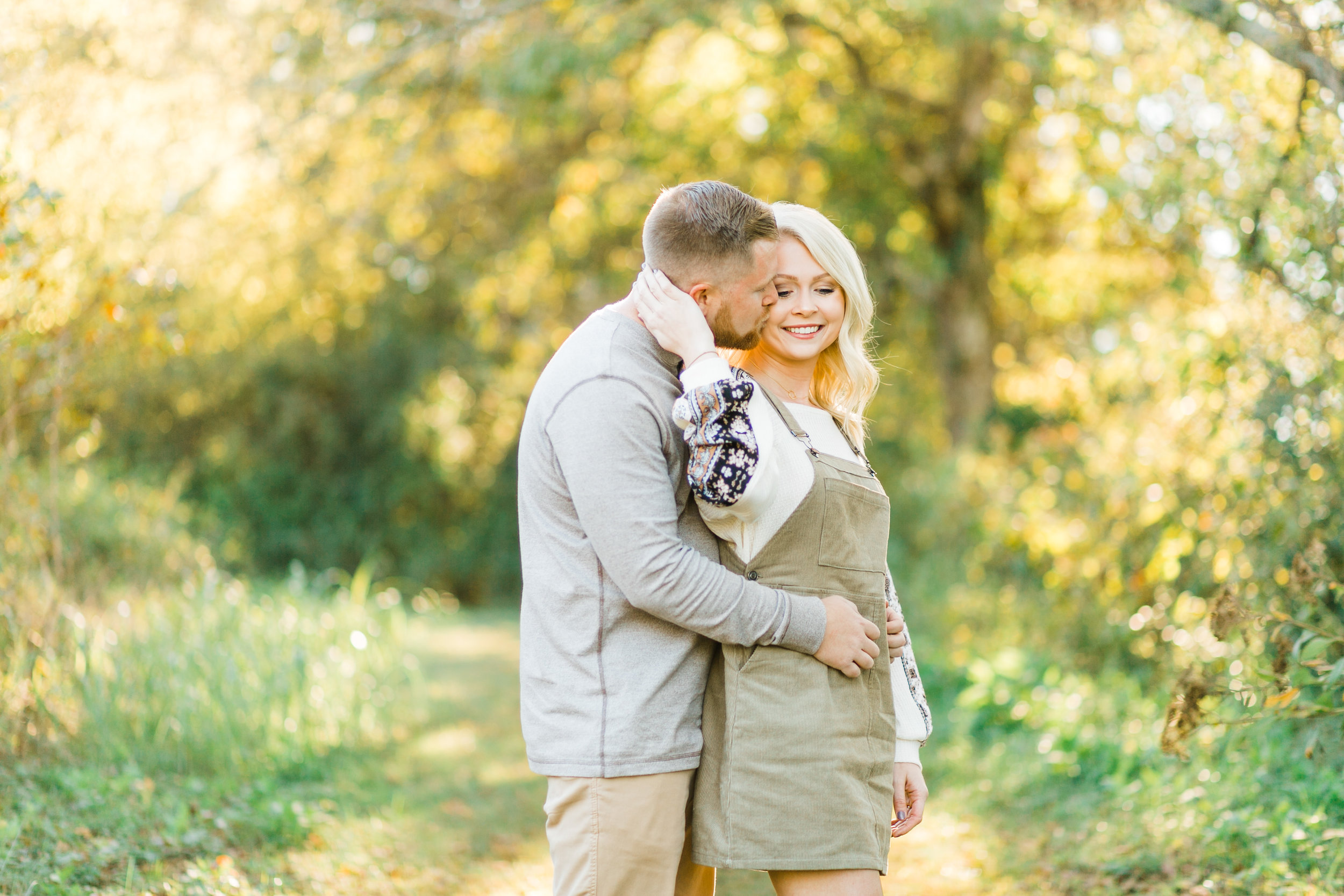 romantic couple sunset engagement session blonde