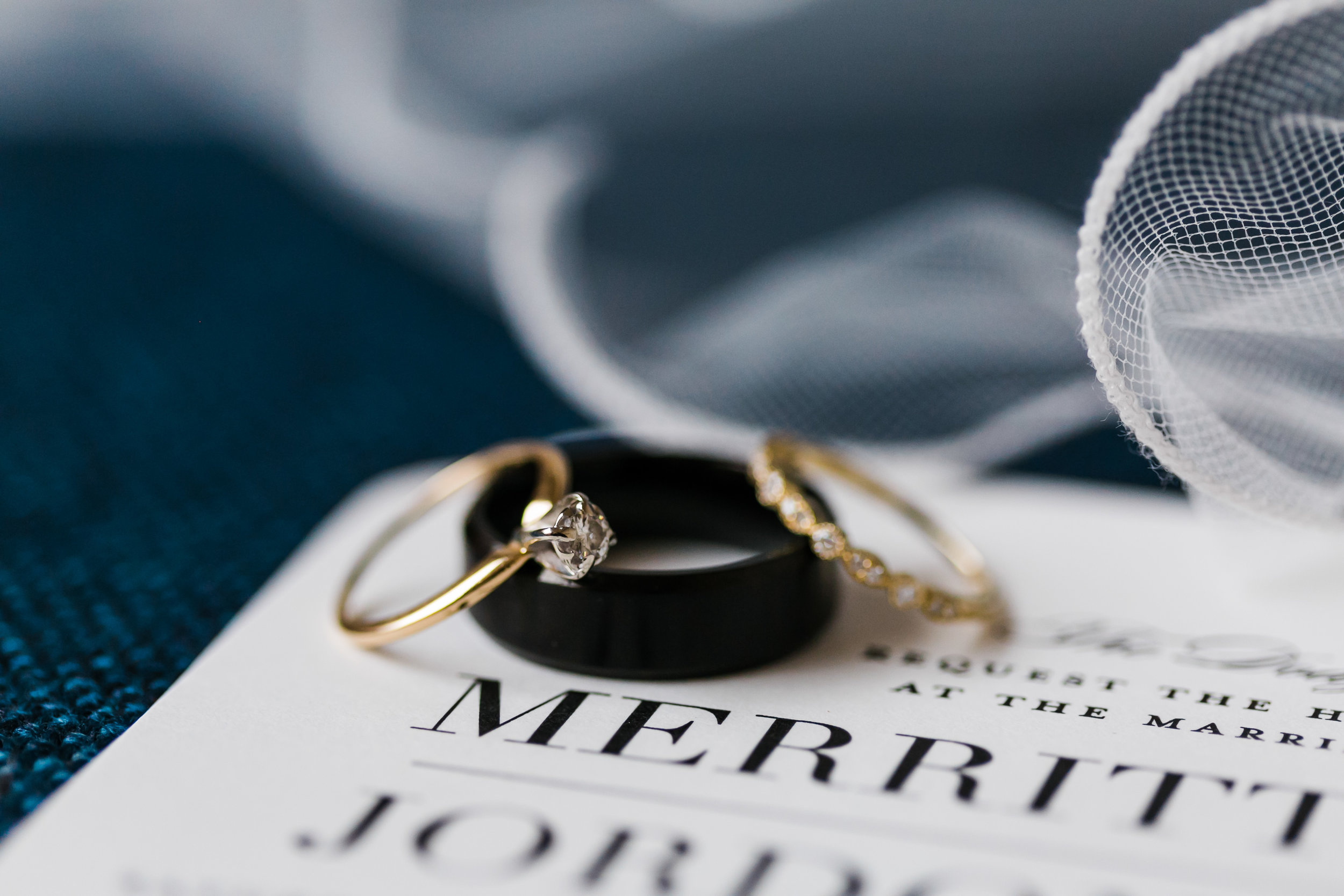 mixed metal wedding rings laying on invite