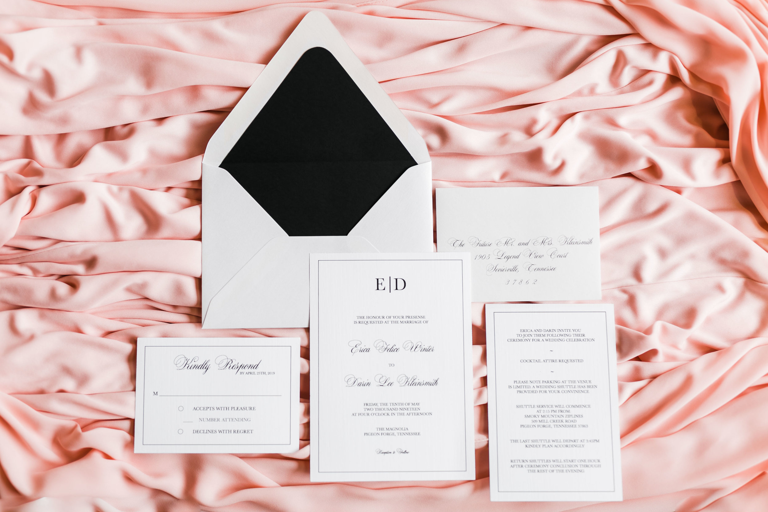 invitation suite pink black and white classic custom love gifts knoxville