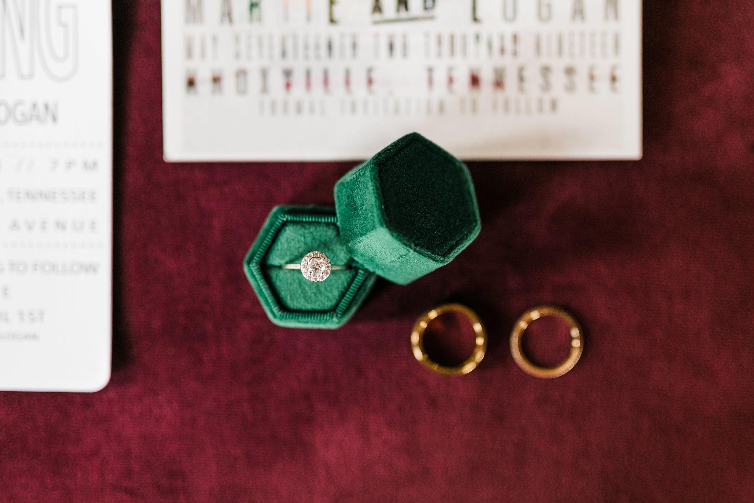 wedding bangs with green ring box