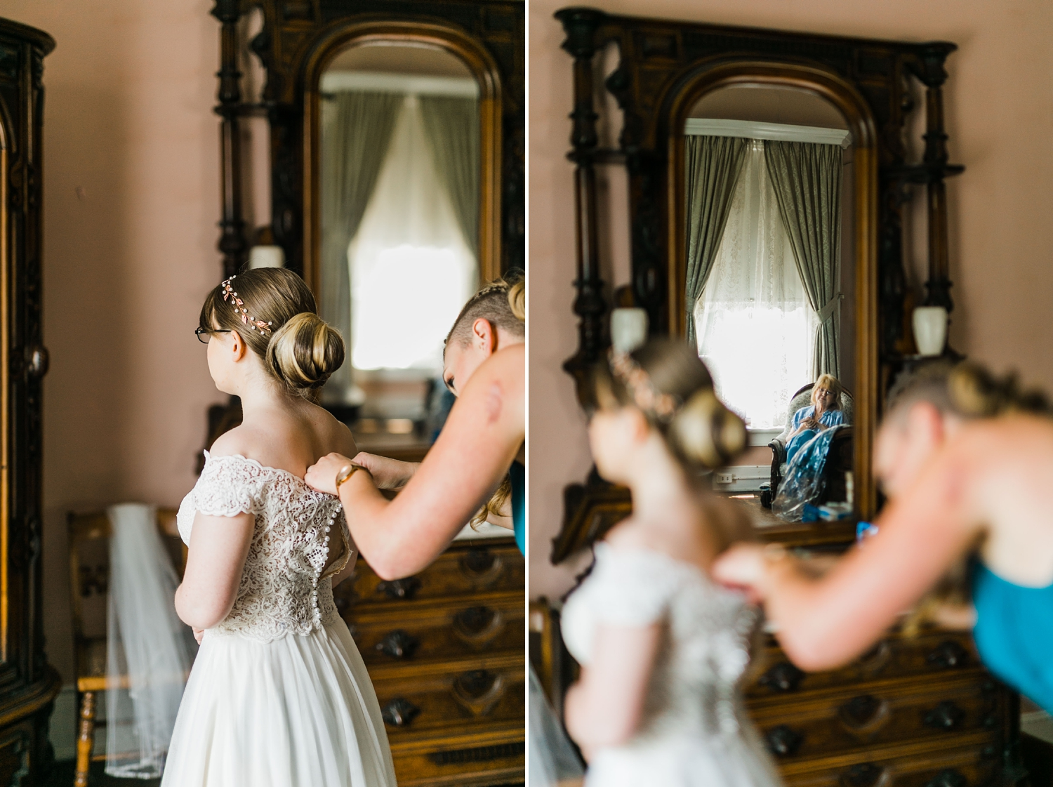 bride getting ready in bridal suite at historic bleak house knoxville