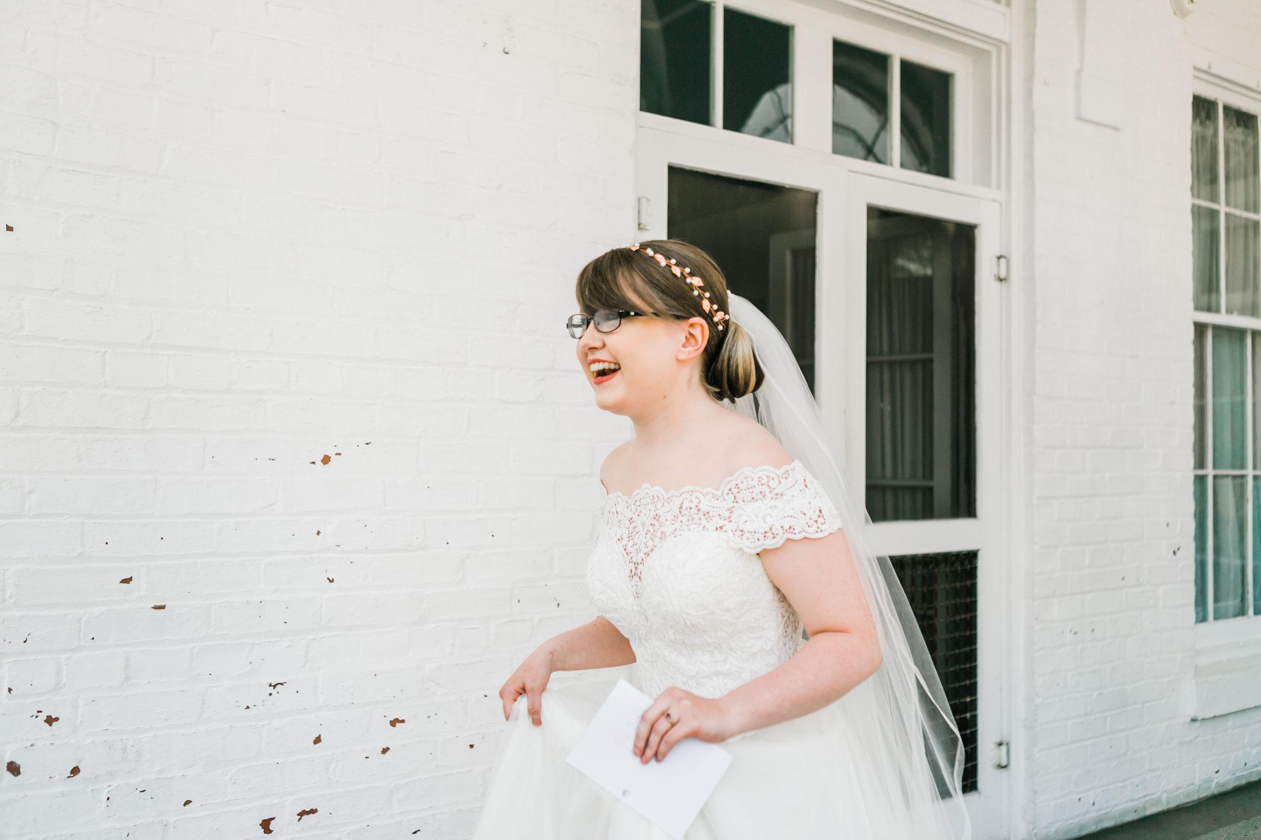 bride in white hallway at bleak house