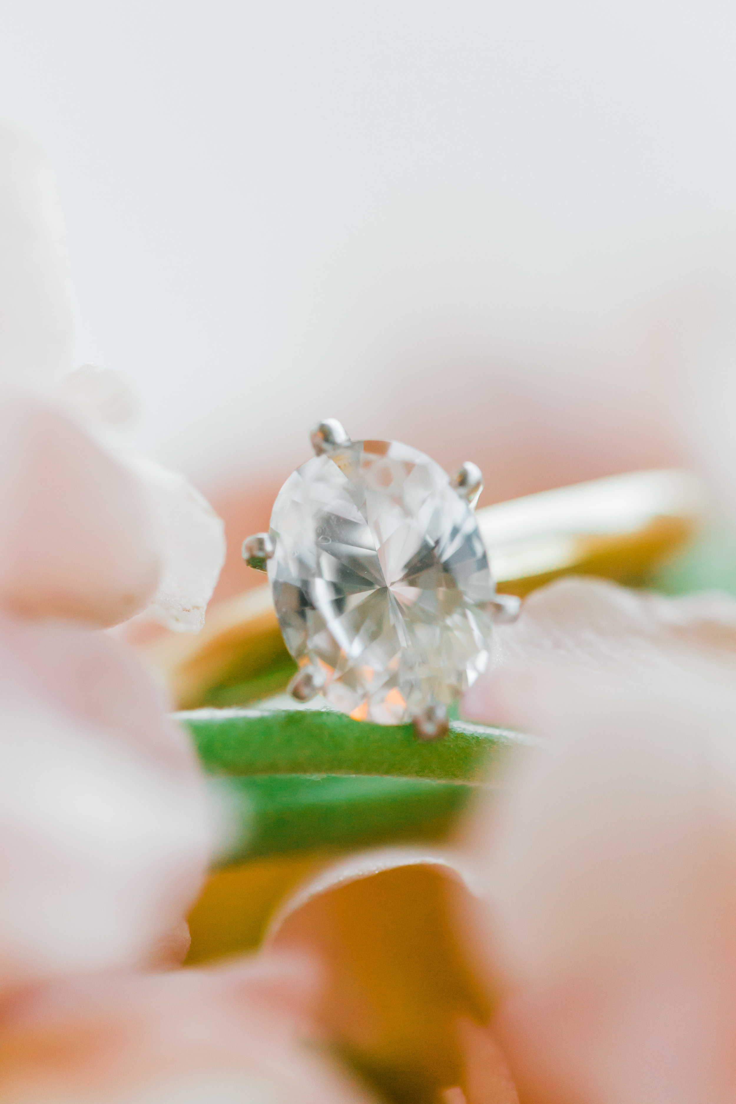 oval solitaire wedding ring in flowers