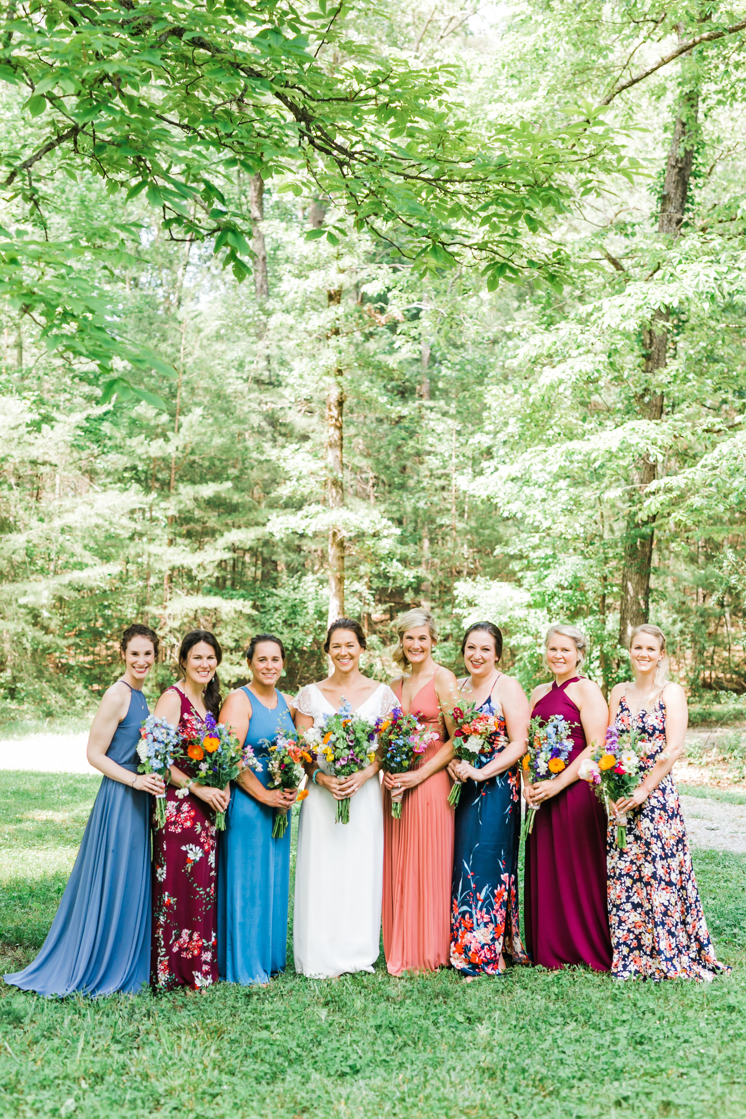 mismatched jewel toned bridesmaid dresses wildflower bouquet knoxville wedding