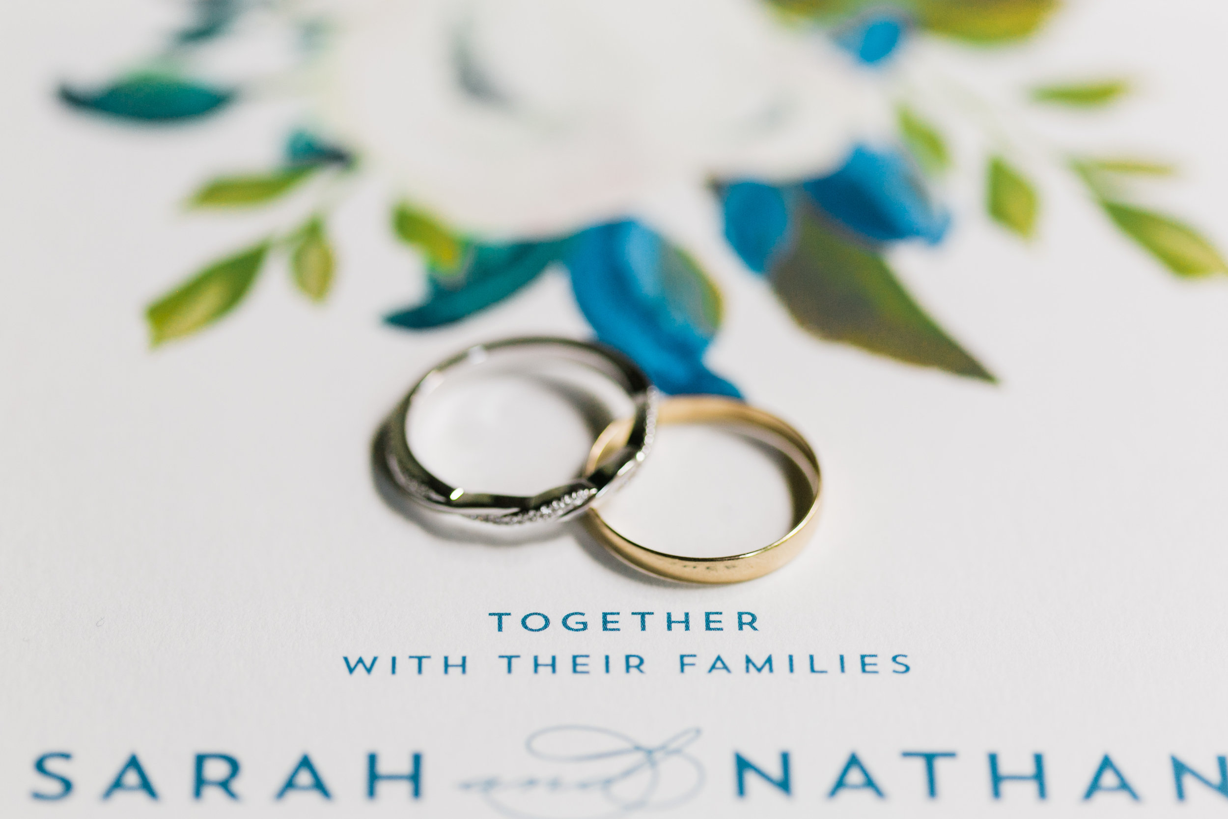 rings with blue flowers