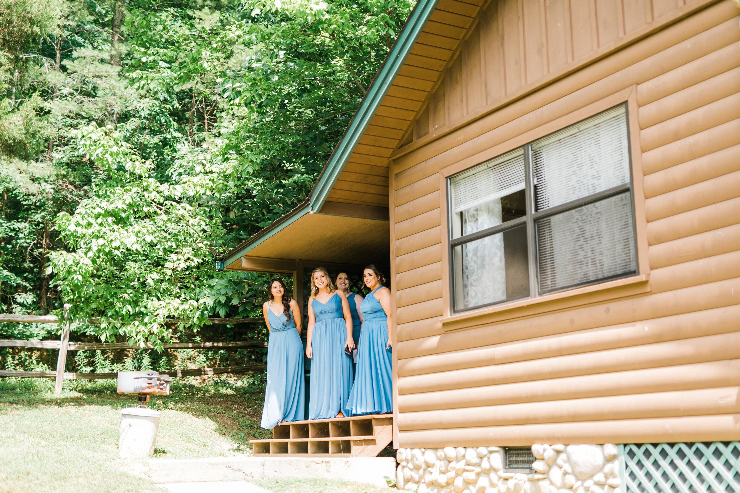 cardinals nest venue Sevierville bridesmaids in blue
