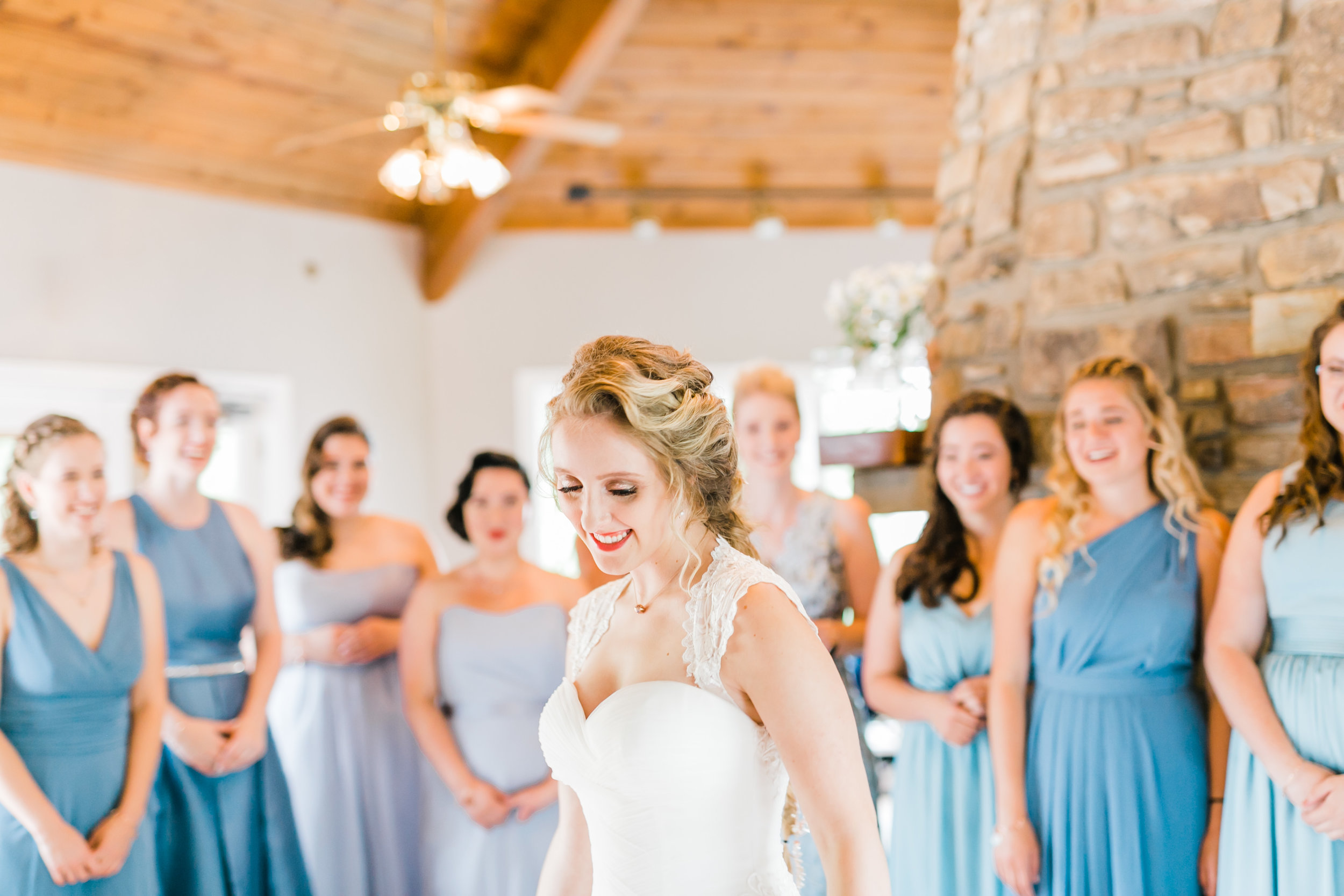 lobby Daras garden bridesmaids first look blue dresses