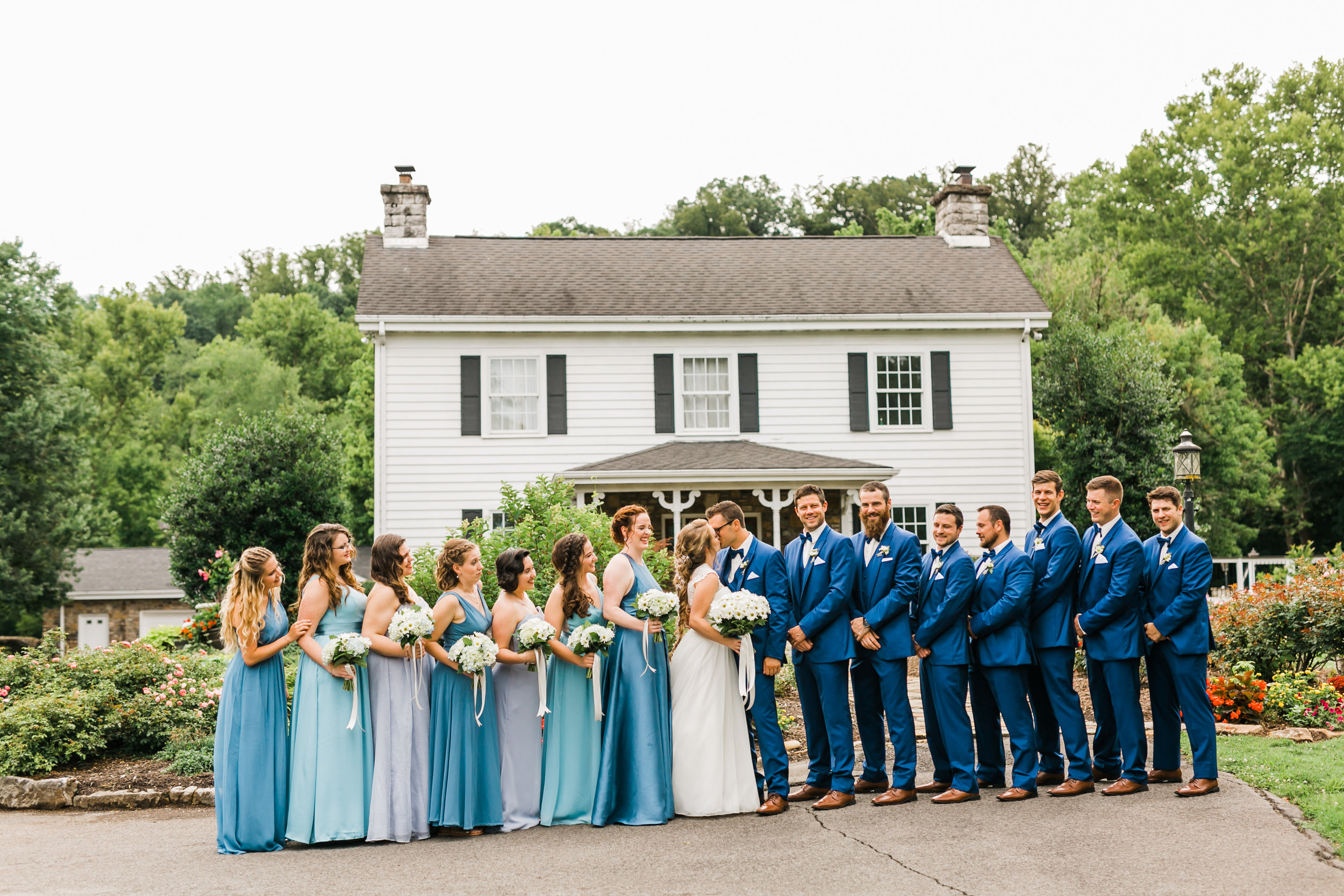Daras garden house blue bridesmaid and groomsmen wedding