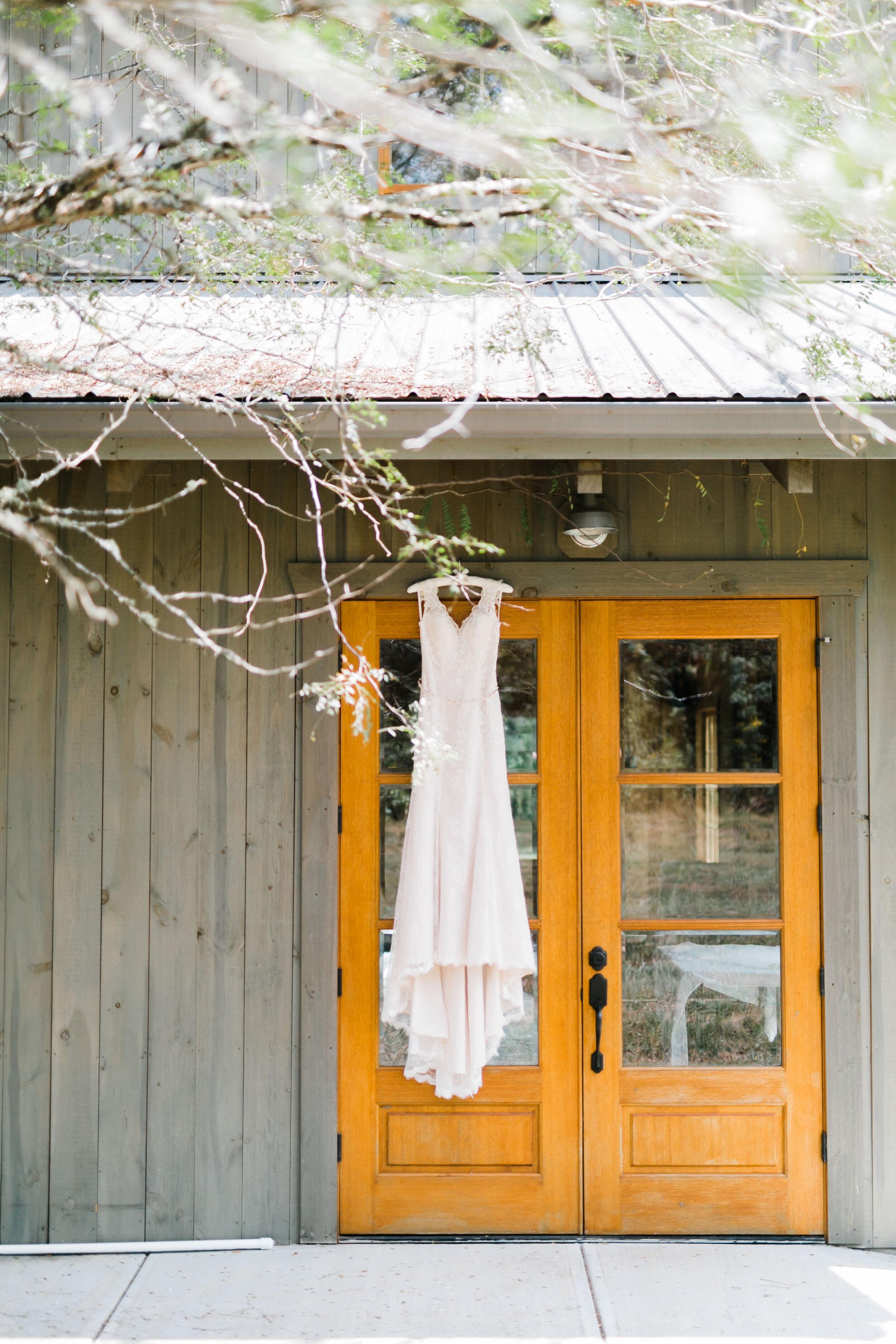 dress hanging 4 points farm wedding