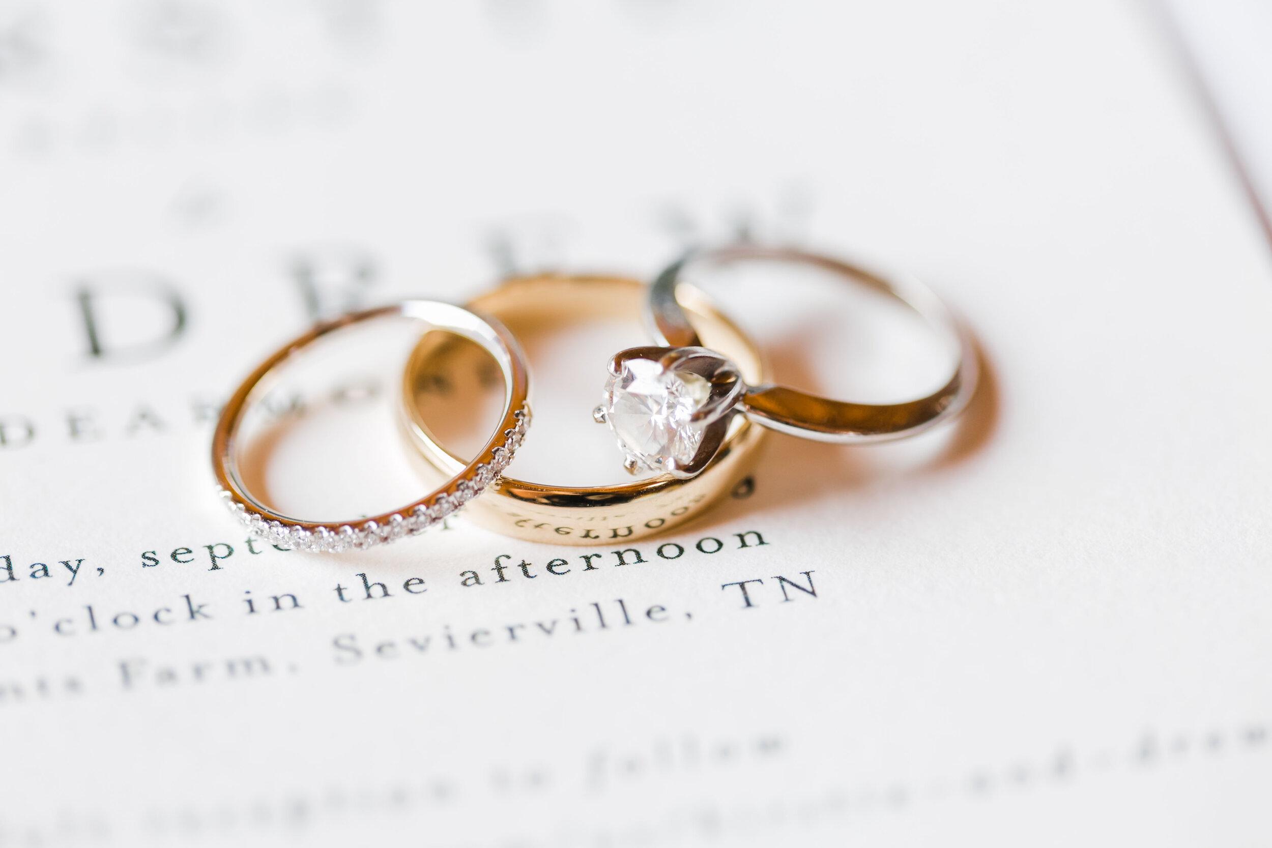 mixed metal wedding rings on invitation