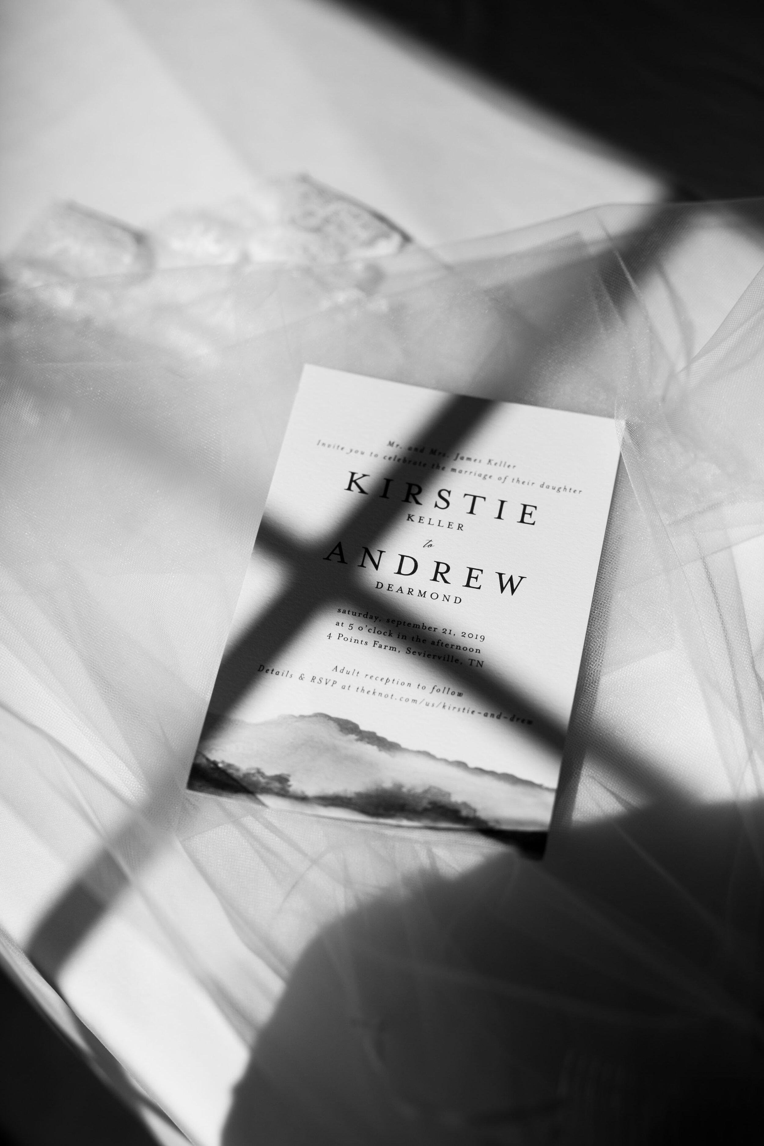 black and white invitation in window light