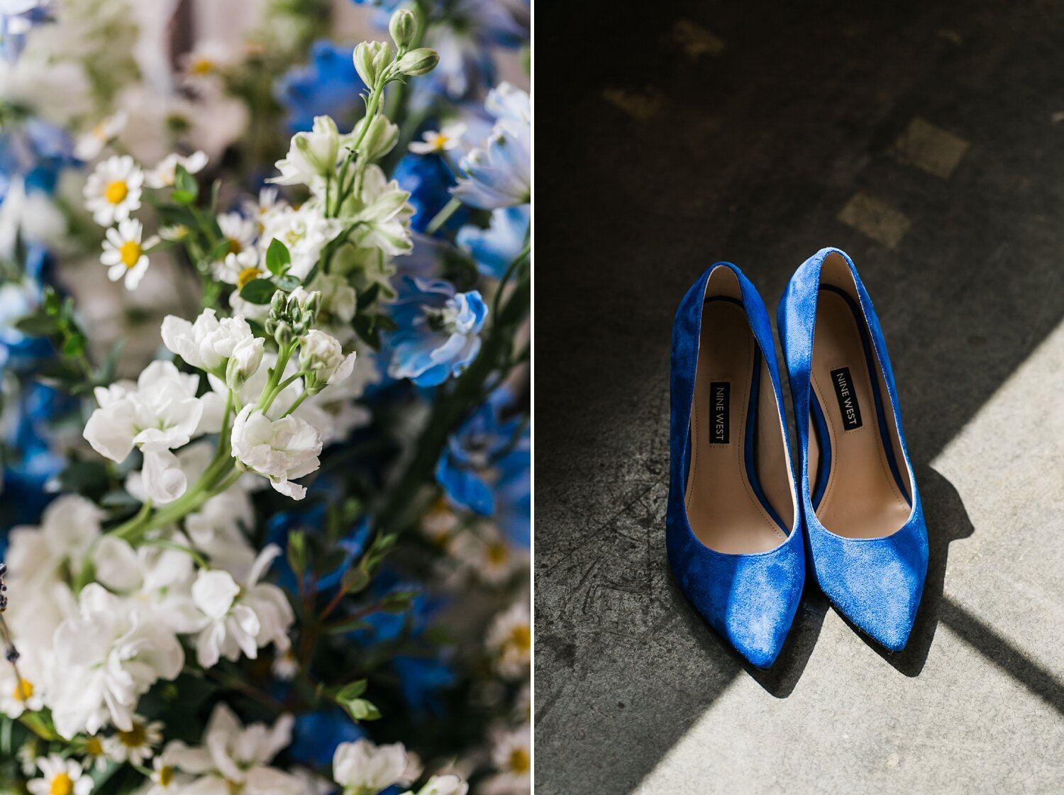 blue shoes and matching flowers wedding day