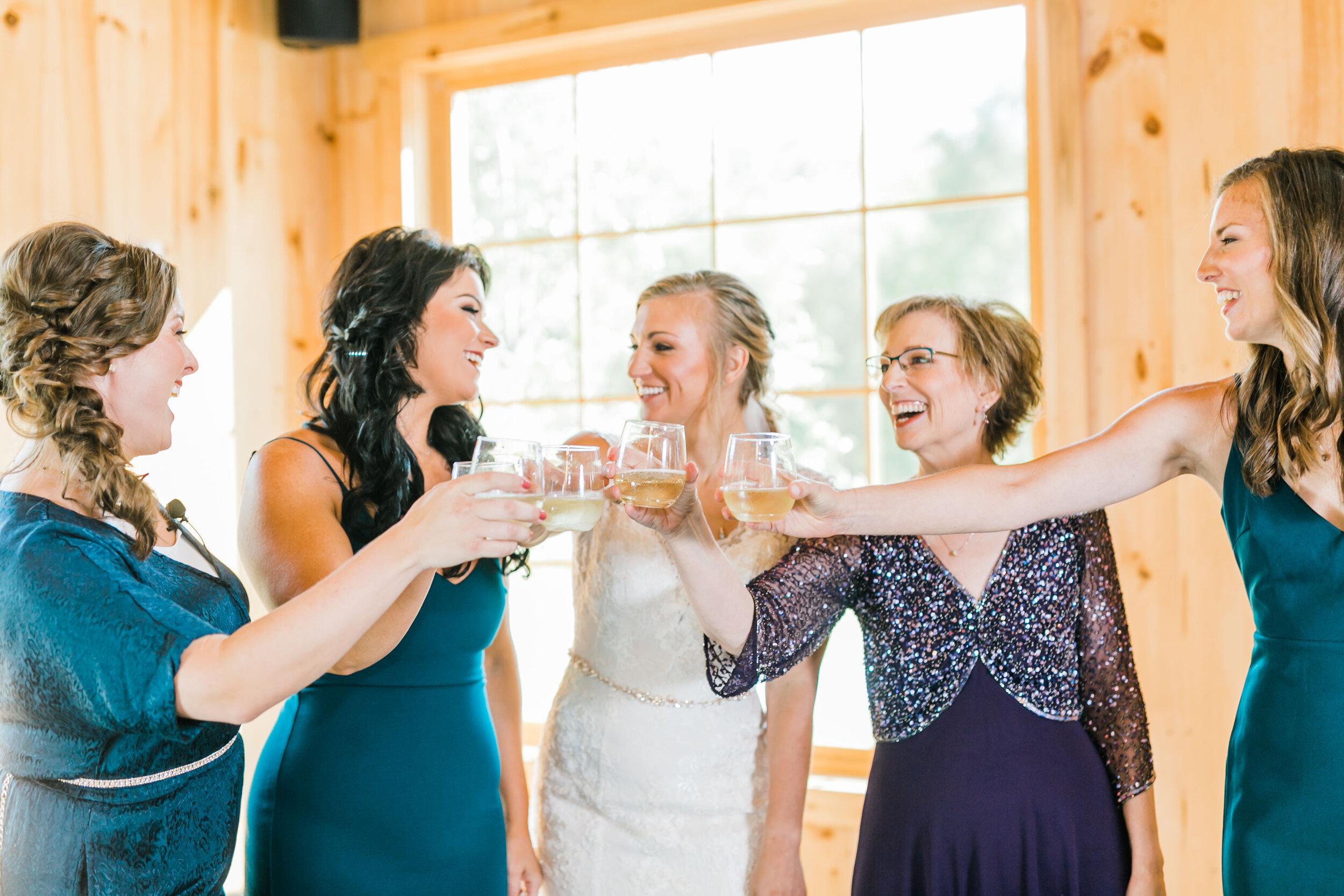 champagne toast wedding day