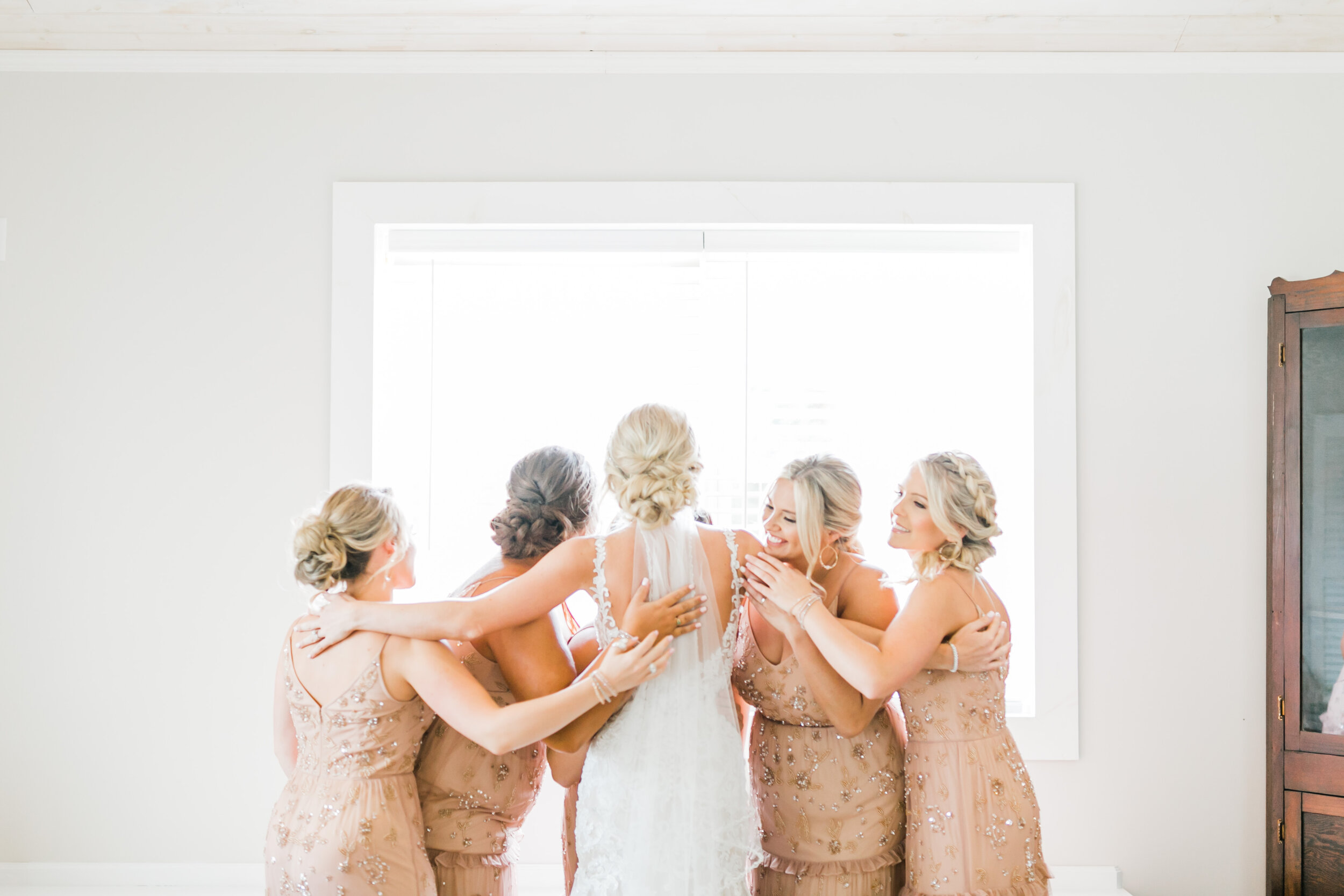 bridesmaids hug bridal cottage Tennessee