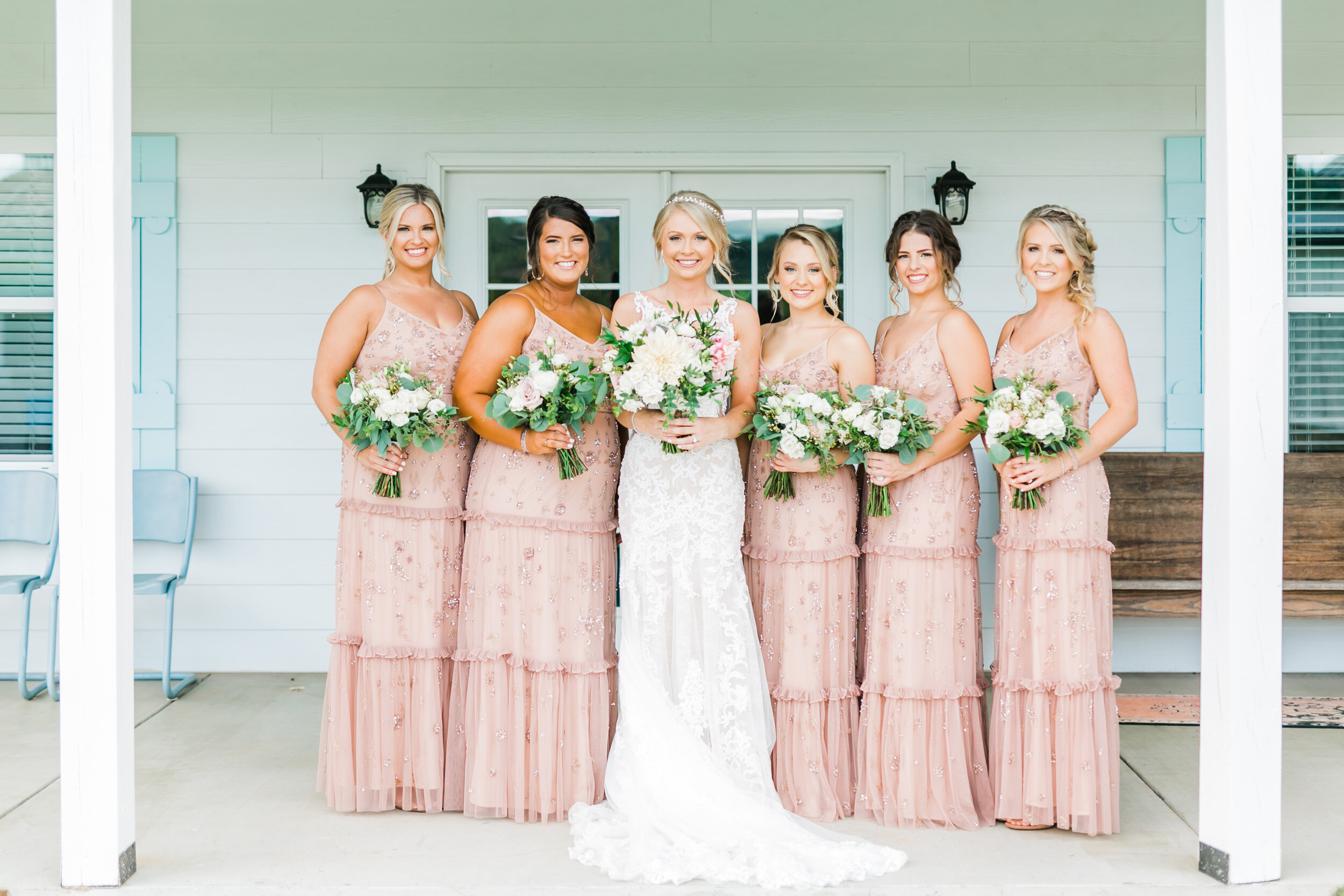 bridal cottage front porch bridesmaids barn at faith farms