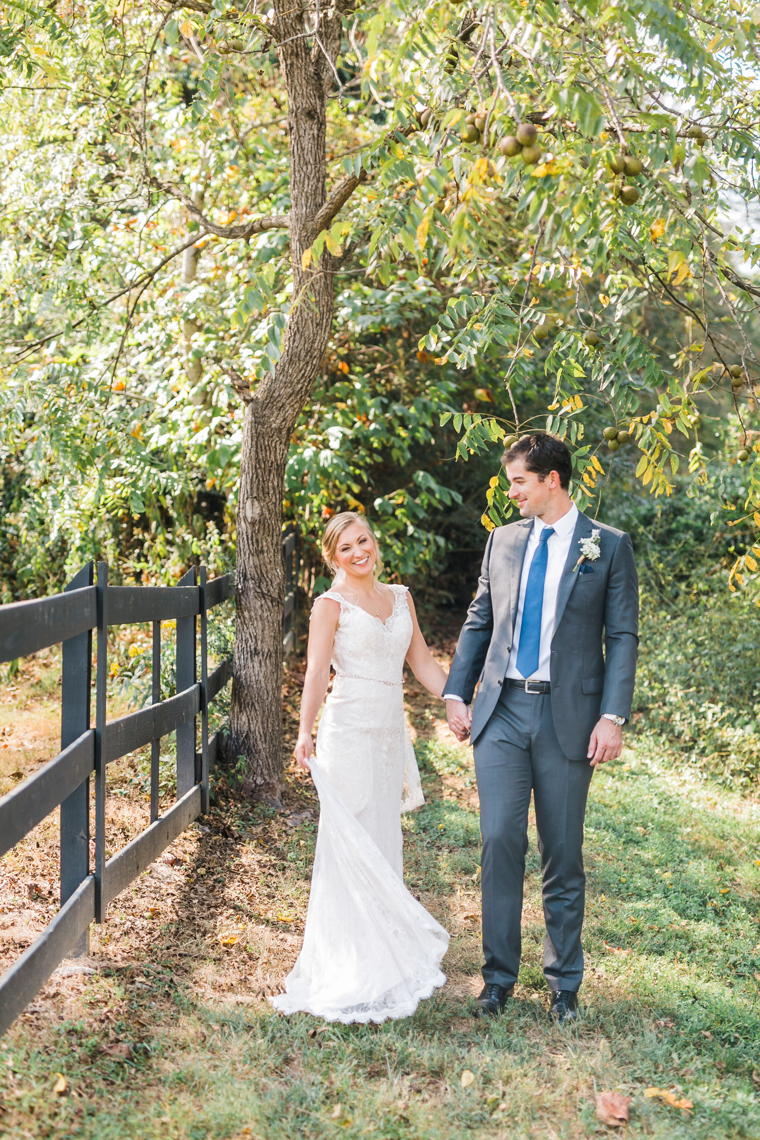 bride and groom fence smoky mountain wedding venue