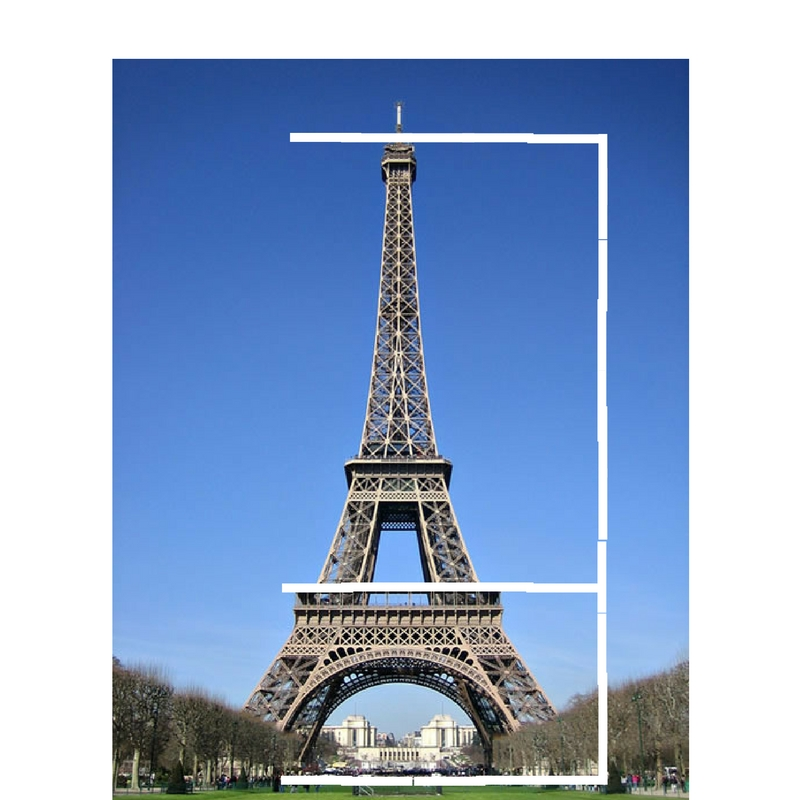 An example of the Golden Ratio in architecture is the Eiffel Tower – see how it breaks visually into 2/3 on the top and 1/3 on the bottom? -