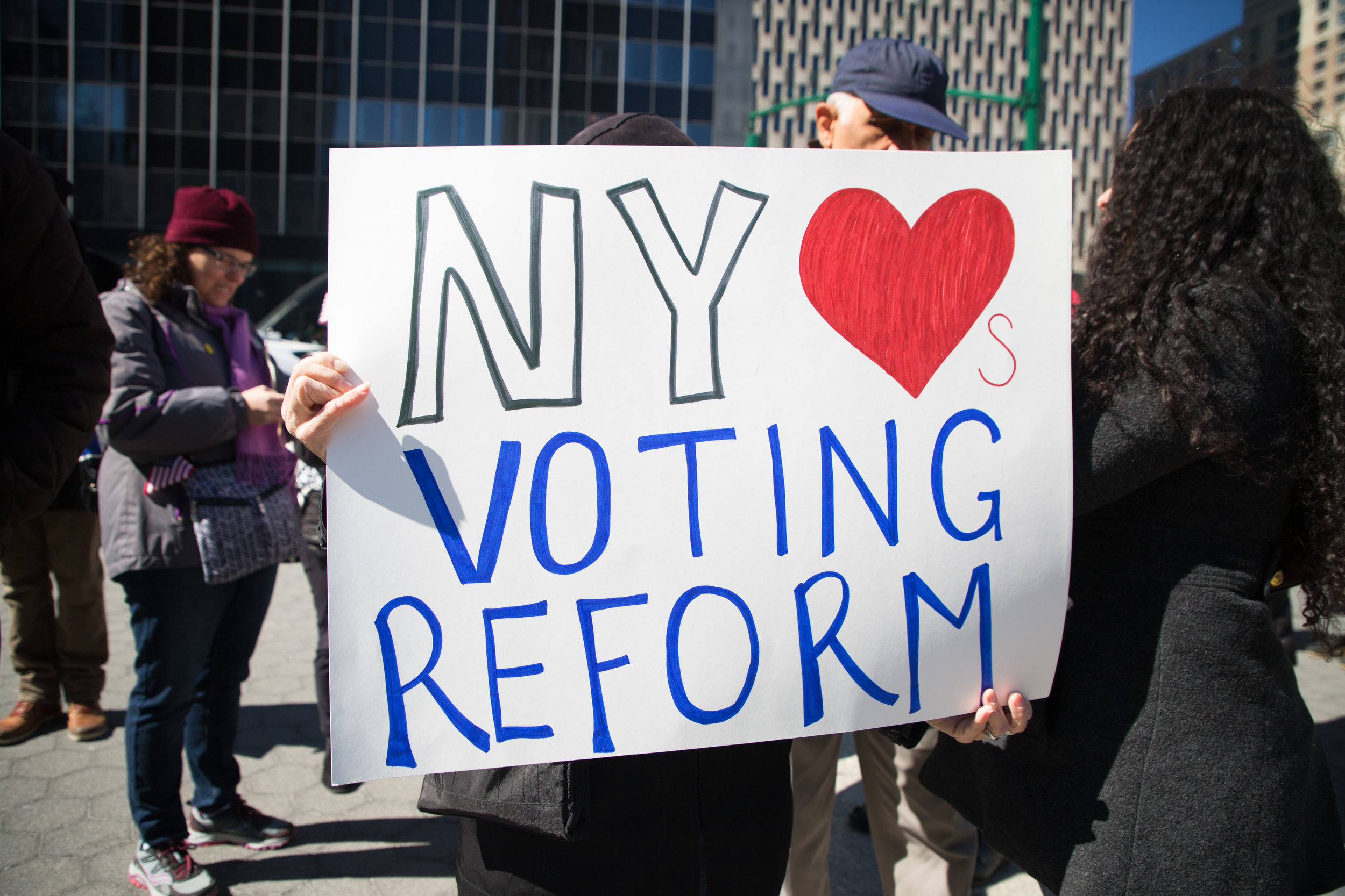 In a Rally for Ealry Voting, activists and elected officials rallied for New York to change it's laws and voting registration process. 37 states in the country have early voting which allows for those who can't vote due to work, school, or child care to vote on other days leading up to elections or mail in absentee ballots.