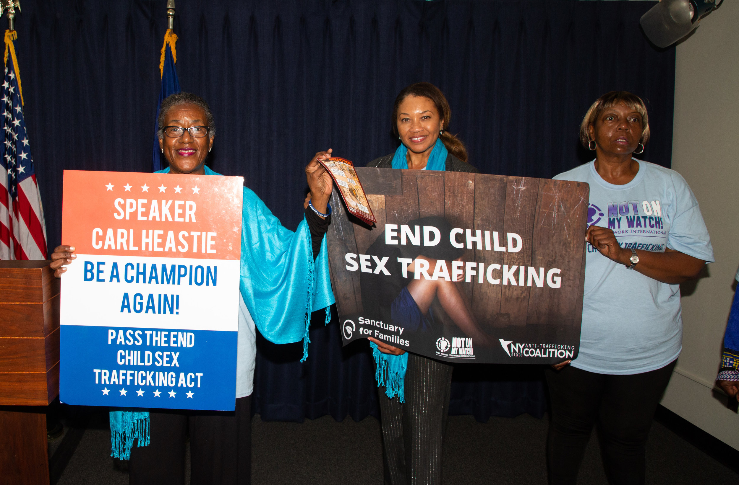 The National Organization for Women, Sanctuary for Families, Women's Justice NOW, and Not on My Watch hold a Lobby Day to End Child Sex Trafficking at the New York State Capitol.