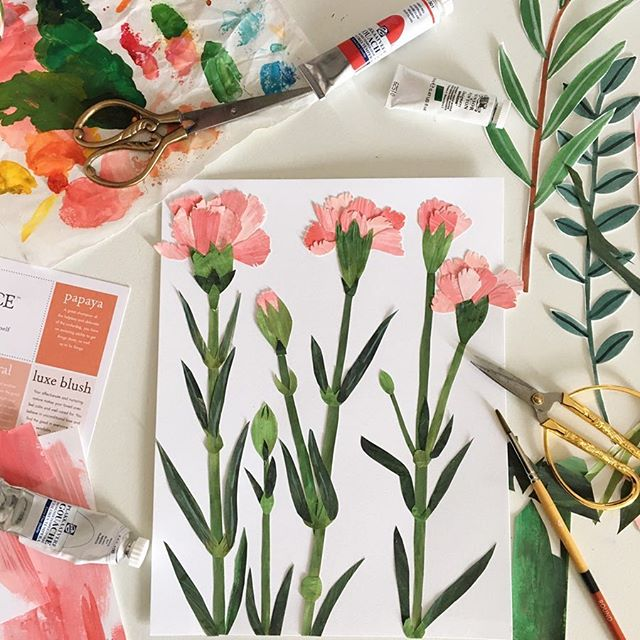 "A little sneak peak of our ""Garden Snips"" Collection 🖌🎨✂️💐. These blooms were my favorite flower growing up. Happy Saturday 💞🌸 . .  #floralsforfreedom #fffgardensnips . . . . . #flowersmakemehappy #blooms  #cutpaper #gouache #rsblooms #gouacheillustration #slowfloralstyle #inspiredbyflowers #bhgflowers  #dentonmakes #carnations #dsfloral #abmcrafty #handmade #botanical #gouacheflowers #floral #dentontx"