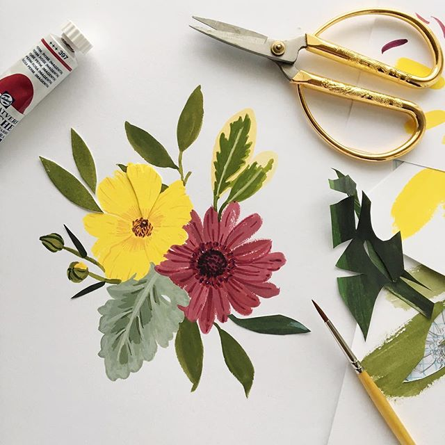 A mini 💐to brighten your day!!!!! @floralsforfreedom sneak peak 🖌🎨✂️ #fffgardensnips . . . . . . #cutpaper #gouache #flowers #gouacheflowers #gouacheflorals #gouacheillustration  #slowfloralstyle #inspiredbypetals #dentonmakes  #dsfloral #rsblooms #bhgflowers #larsflowers #gouacheillustration #gouachepainting  #floralfriday #fridayflowers #dentontx