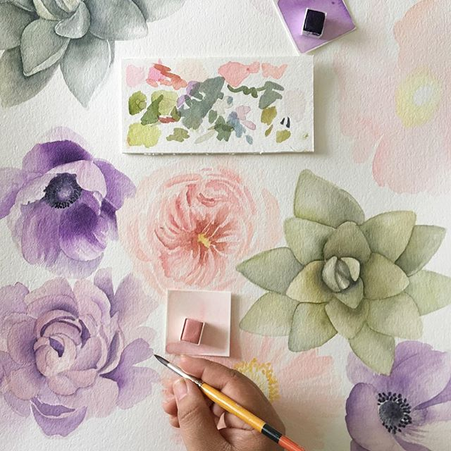"Flower friends, I need your help! I'm leading a ""Watercolor"" round table in March and I'd love to know what YOU would be interested in learning about beginning watercolor. Have you been wanting a new hobby? Do you want to incorporate painting into your design process? 🌸 P.S-I started this piece in January and it's almost March 🙈! I'm posting my progress for accountability purposes. Goal: finish by Saturday 🤞#underthefloralspell . . . . . #artphilosophy #primawatercolors #looseflorals #slowfloralstyle #rsblooms #inspiredbypetals #floralart #botanical #dsfloral #watercolorflowers #anemone #succulents #illustrationnow #floralillustration #dentontx"
